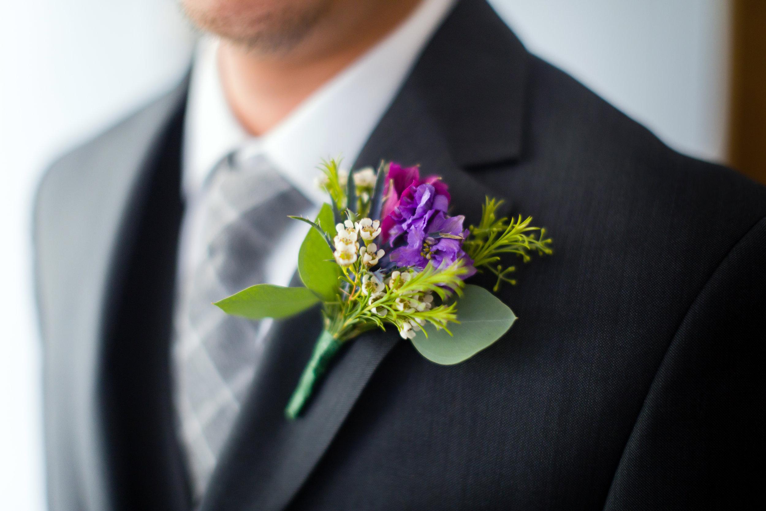 Purple Boutonniere - Pittsburgh Wedding Venue - Duquesne University Wedding