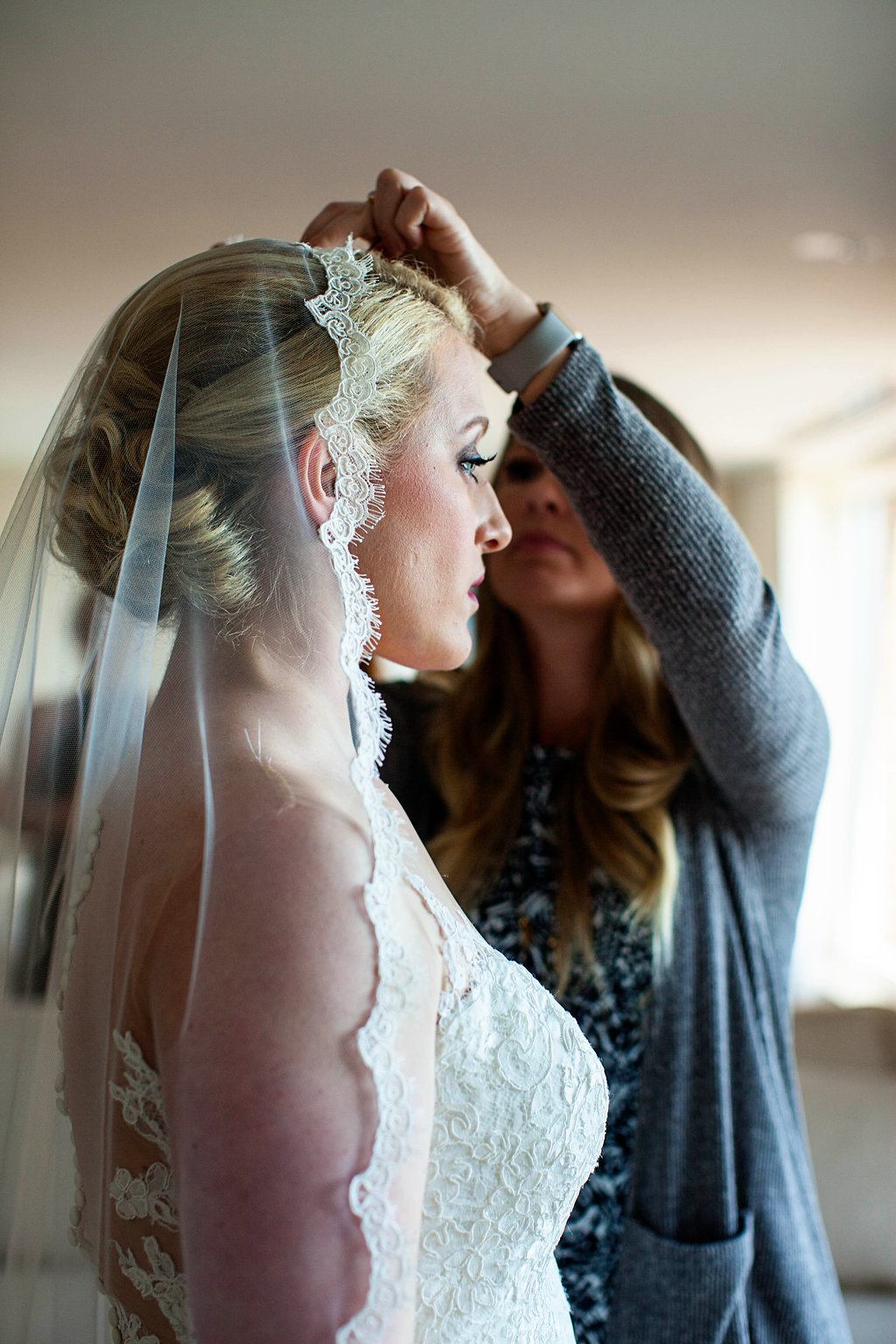 Cathedral Lace Rimmed Bridal Veil - Rhode Island Wedding Venue - Belle Mer Wedding