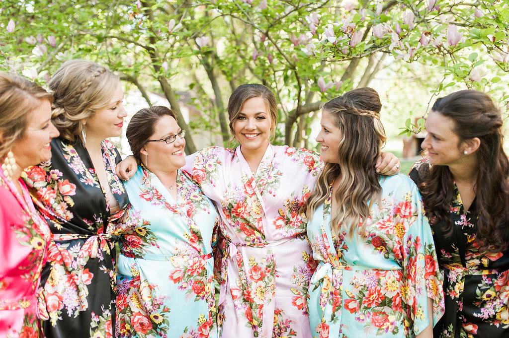 Floral Bridesmaid Robes - Iowa Farm Wedding - Private Estate Weddings