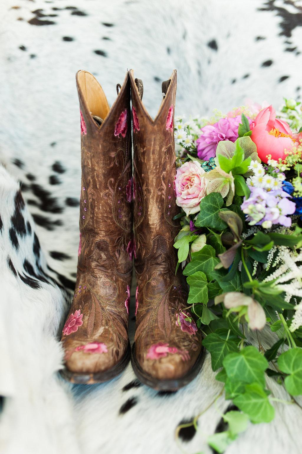 Bridal Cowgirl Boots - Iowa Farm Wedding - Private Estate Weddings