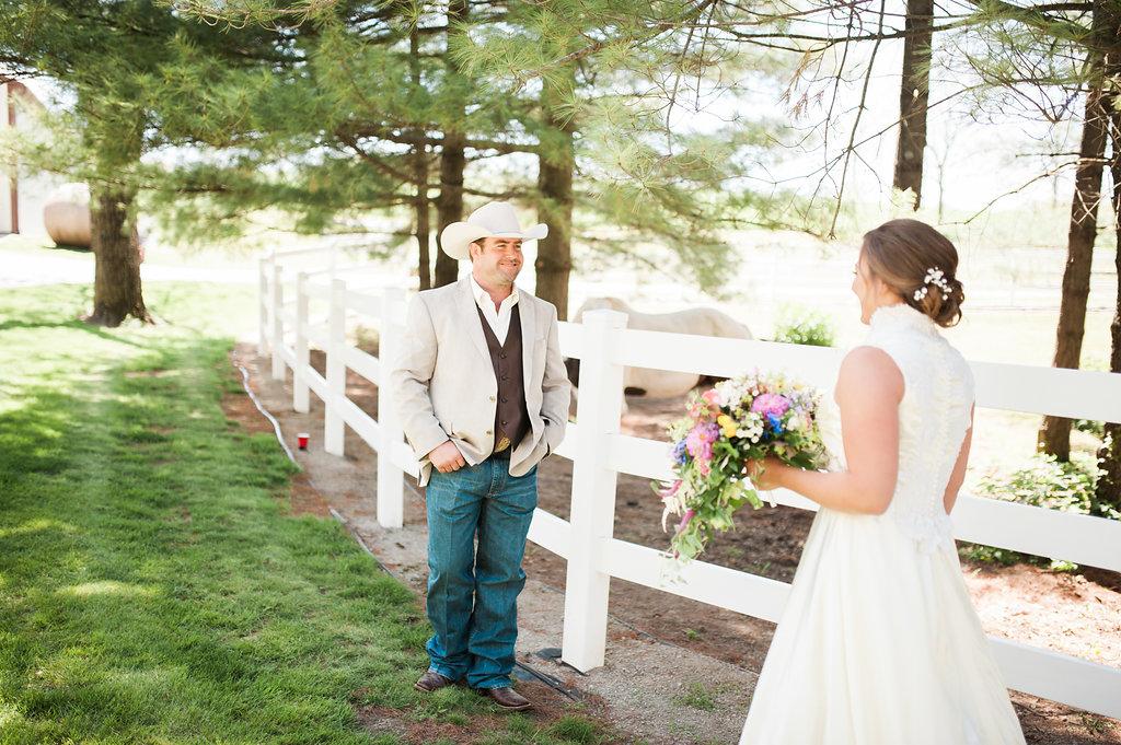 Wedding First Look Photos - Iowa Farm Wedding - Private Estate Weddings