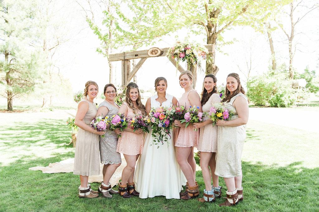Blush Bridesmaid Dresses - Iowa Farm Wedding - Private Estate Weddings