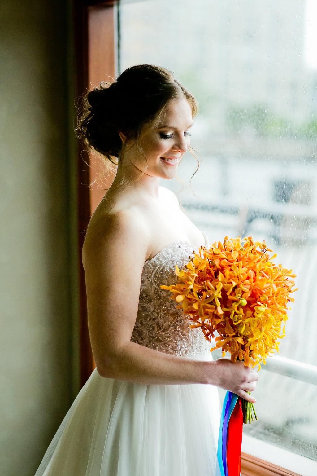 Orange Wedding Bouquet - Yacht Wedding Venues