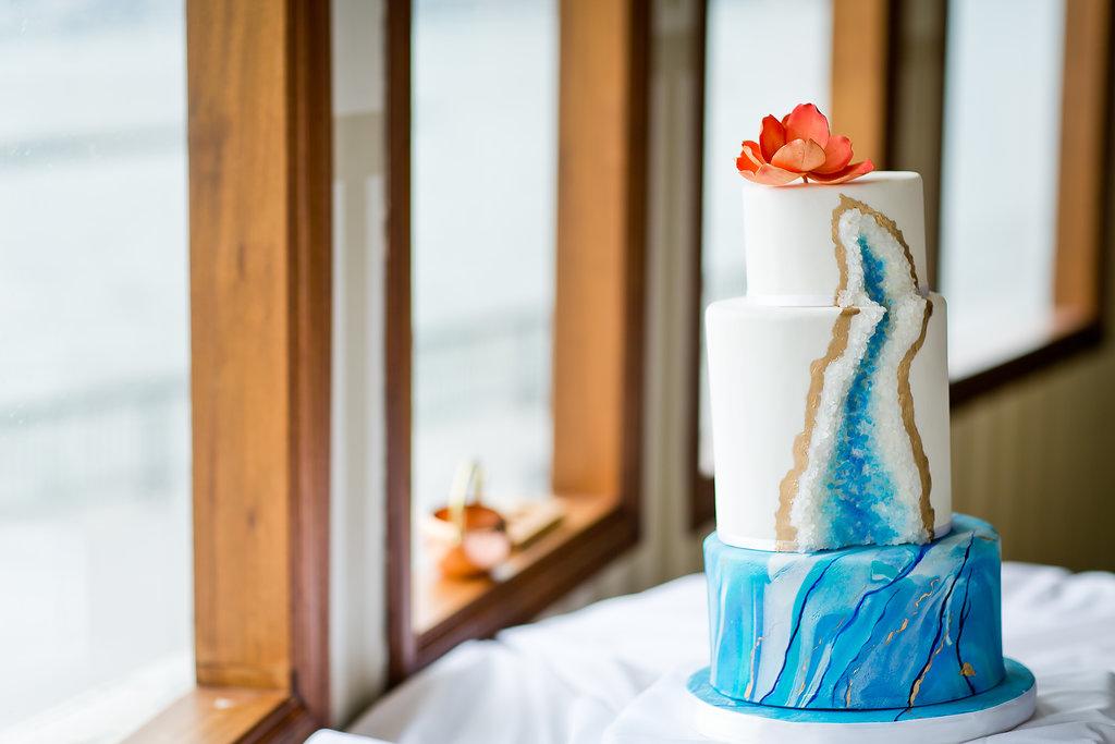 Gemstone Unique Blue Wedding Cake - Yacht Wedding Venues