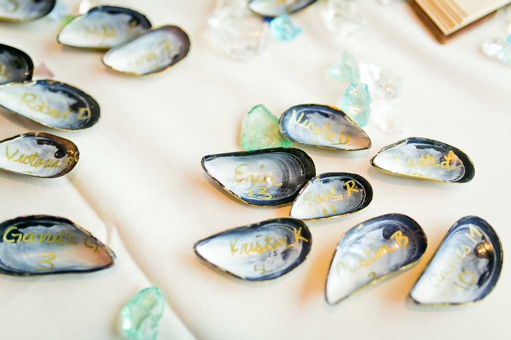 Unique Shell Wedding Seating Cards - Yacht Wedding Venues