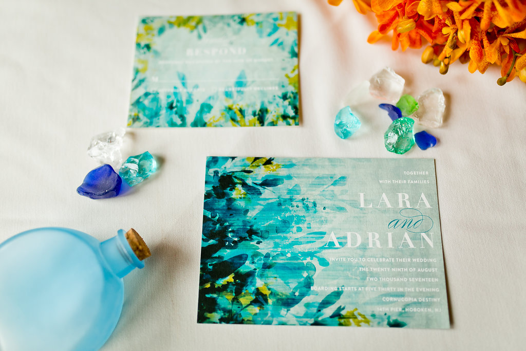 Turquoise Watercolor Wedding Invitations - Yacht Wedding Venues
