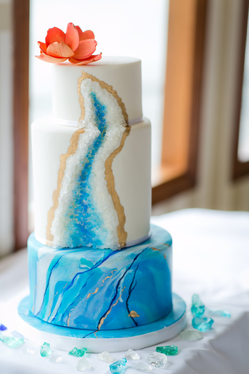 Blue and Gold Watercolor Wedding Cake - Yacht Wedding Venues