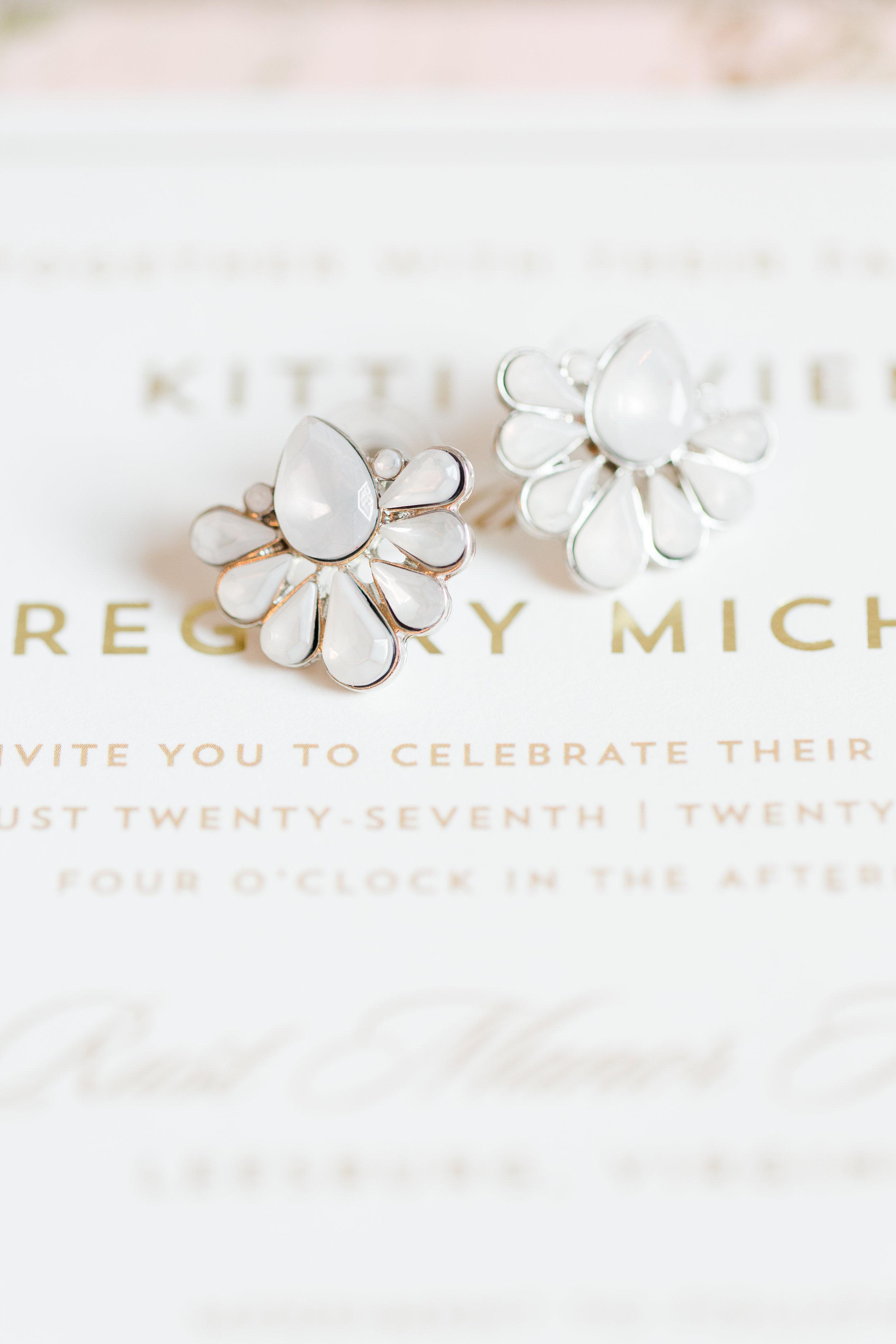 White Bridal Earrings - West Virginia Wedding Photographer - Wedding Venue