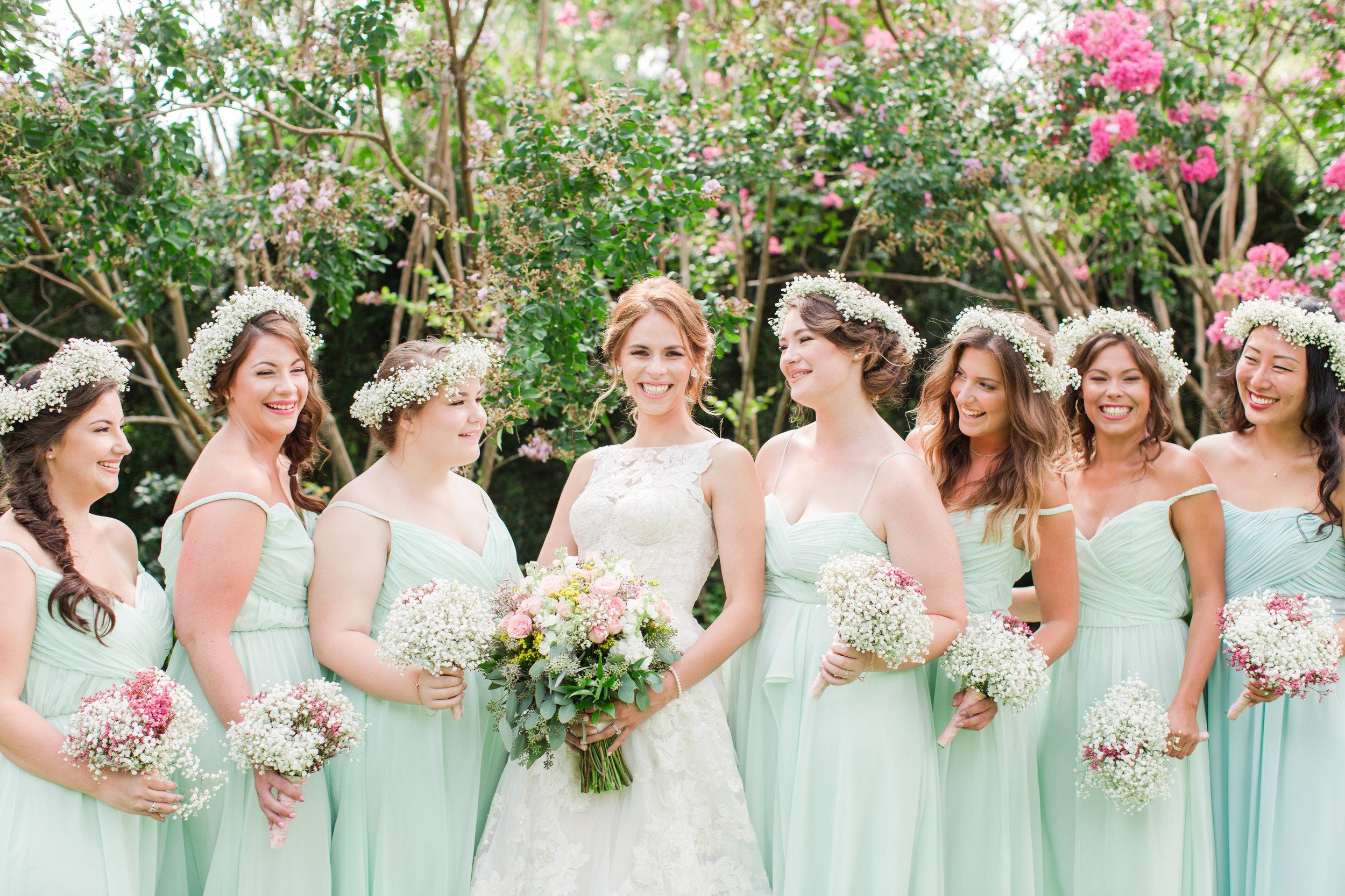 White Bridesmaid Flower Crowns - West Virginia Wedding Photographer - Wedding Venue