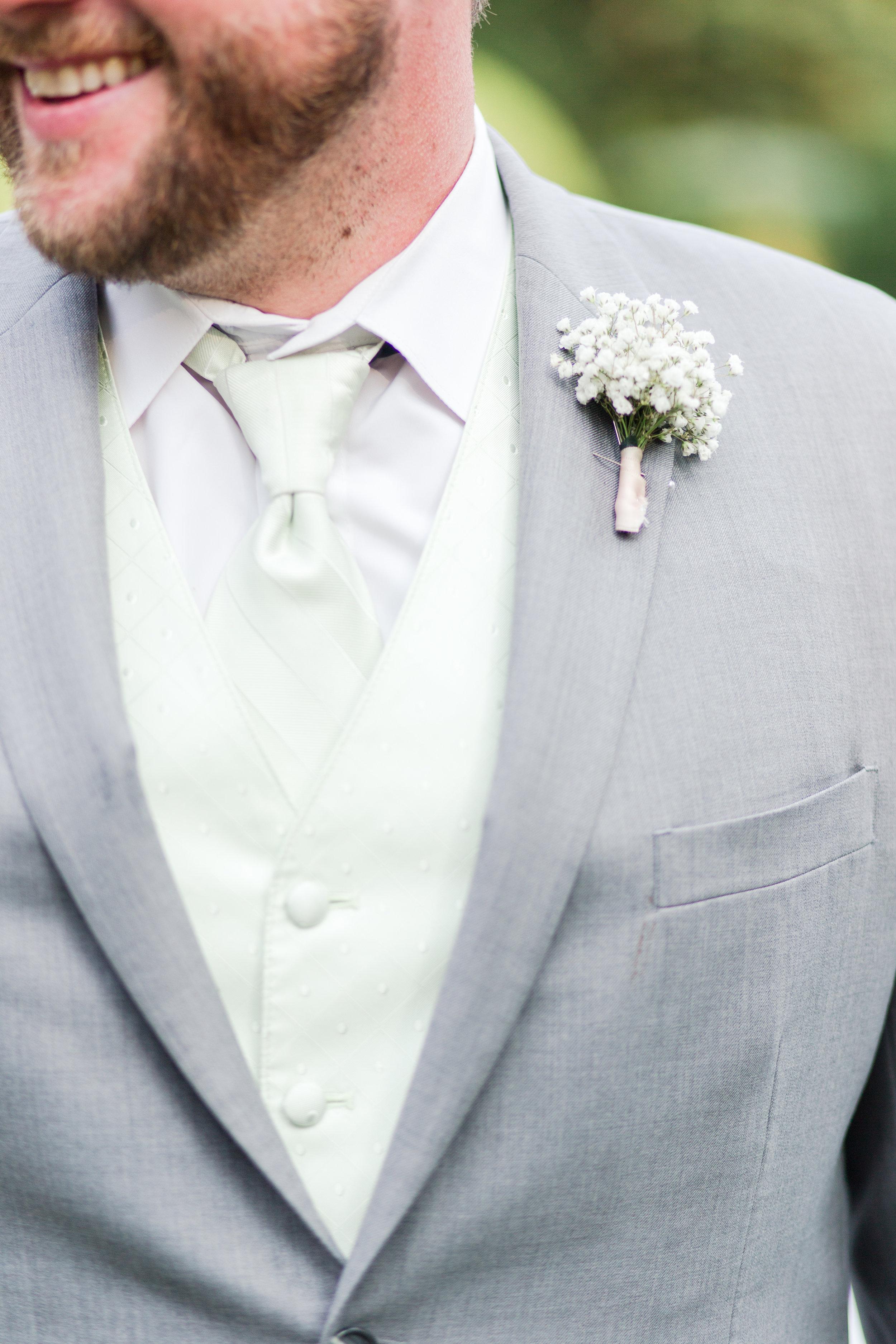 White Groom Boutonniere - West Virginia Wedding Photographer - Wedding Venue