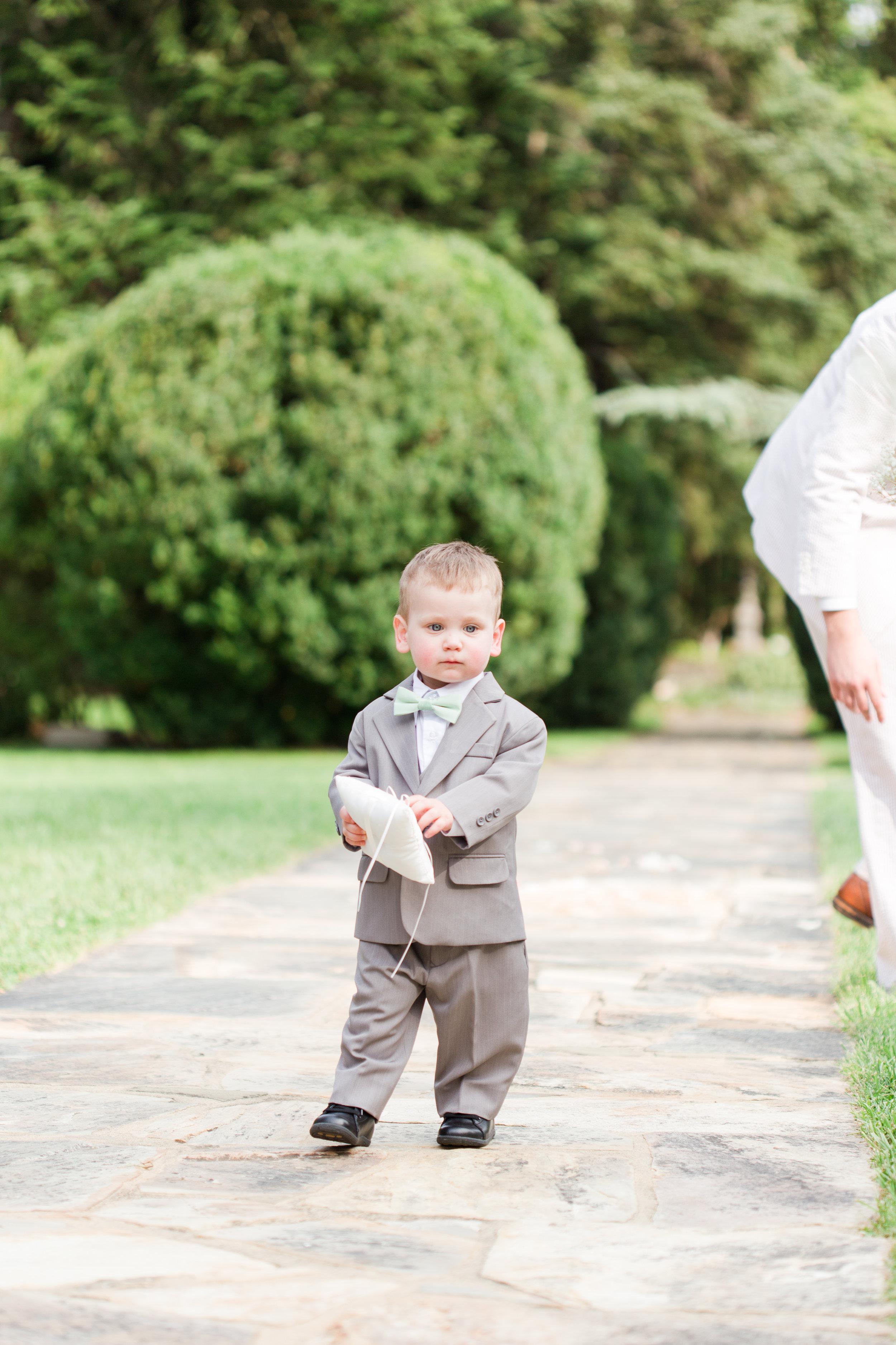 Adorable Grey Ring Bearer Suits - West Virginia Wedding Photographer - Wedding Venue