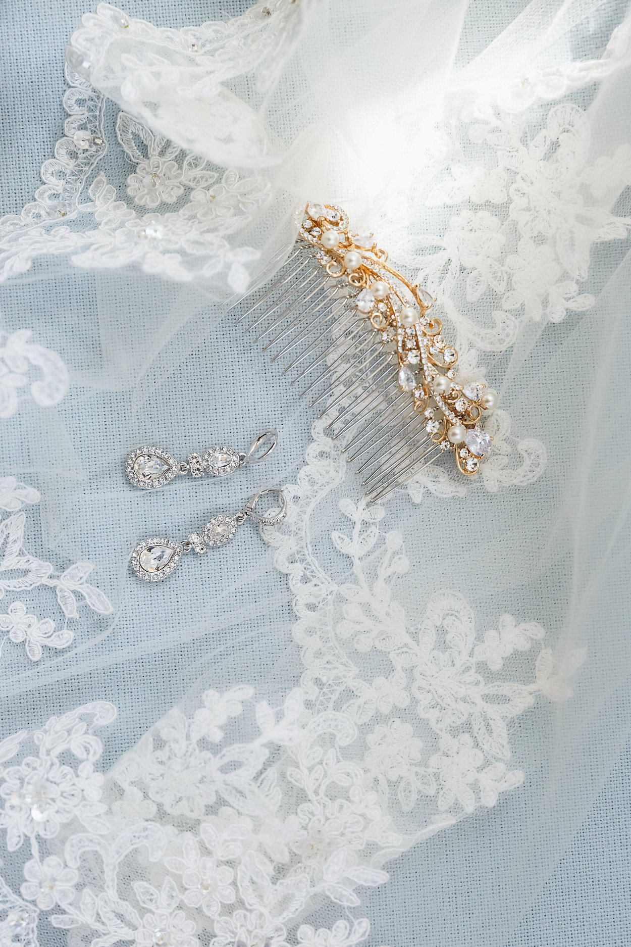 Gorgeous Lace Lined Bridal Veil - Science Museum of Virginia Wedding