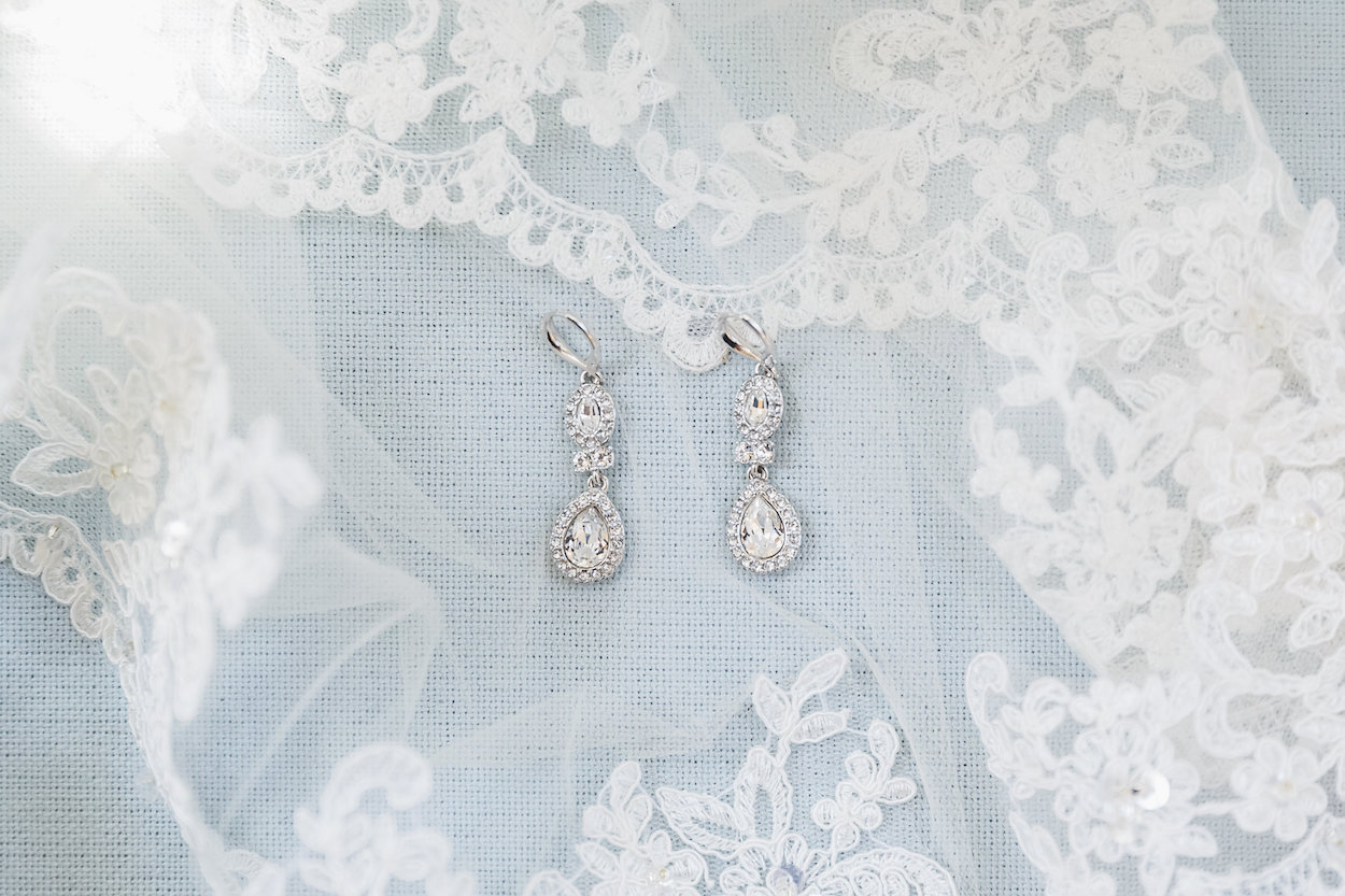 Tear Drop Gorgeous Bridal Earrings - Science Museum of Virginia Wedding
