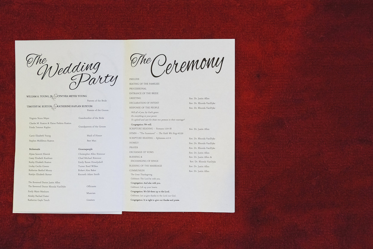 Simple Wedding Programs - Science Museum of Virginia Wedding