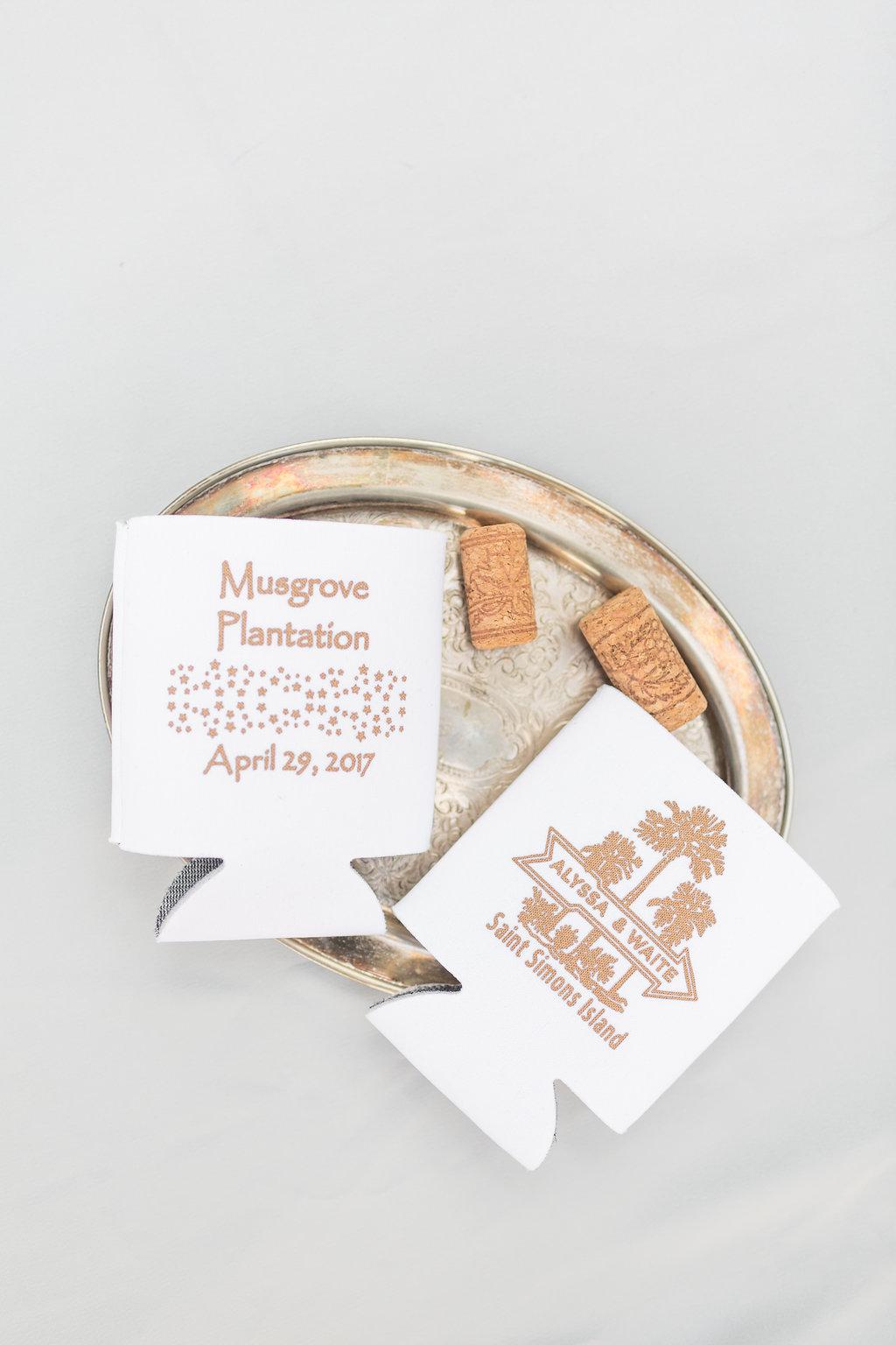 Wedding Koozies - Musgrove Plantation Georgia Wedding Venue