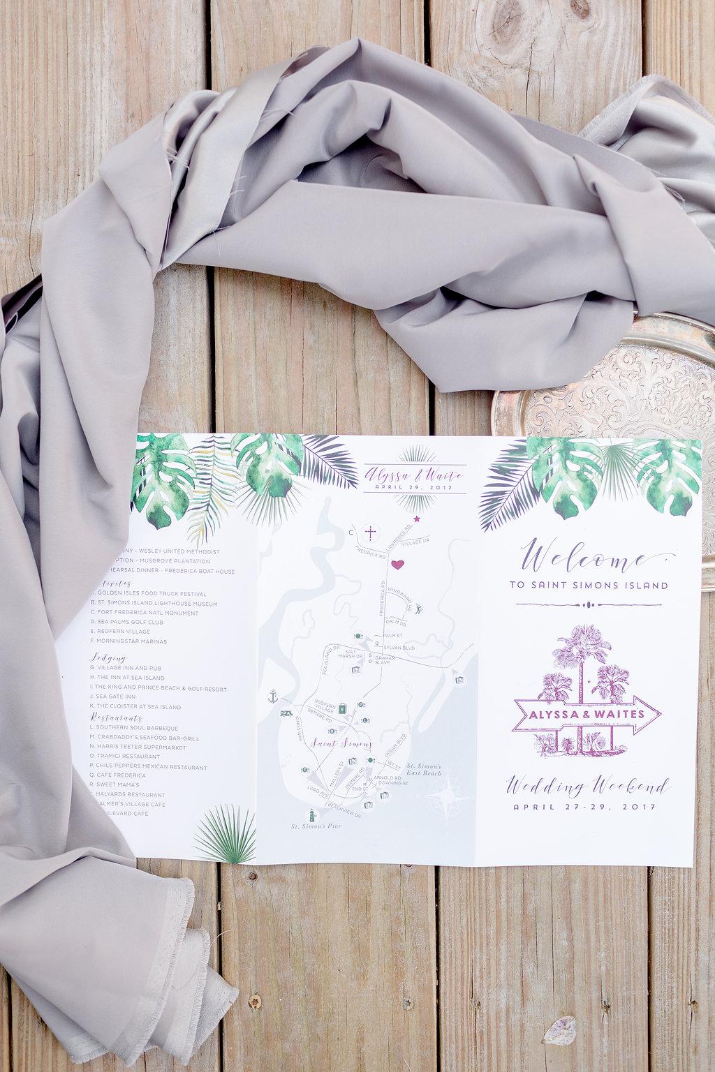 Palm Tree Wedding Invitations - Musgrove Plantation Georgia Wedding Venue