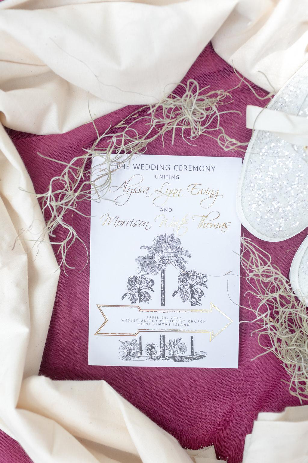 Simple Wedding Invitations - Musgrove Plantation Georgia Wedding Venue