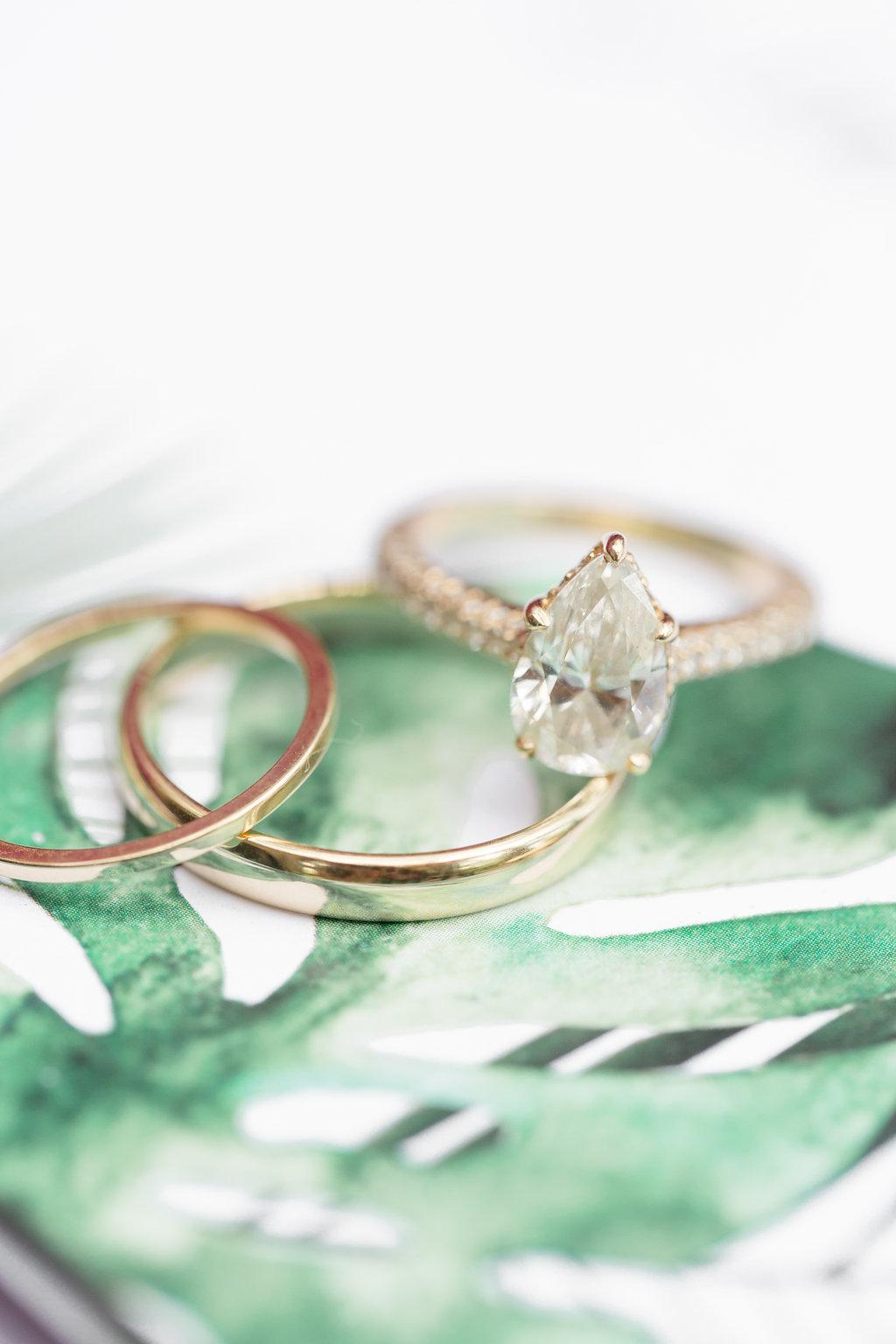 Gold Pear Engagement Ring - Musgrove Plantation Georgia Wedding Venue