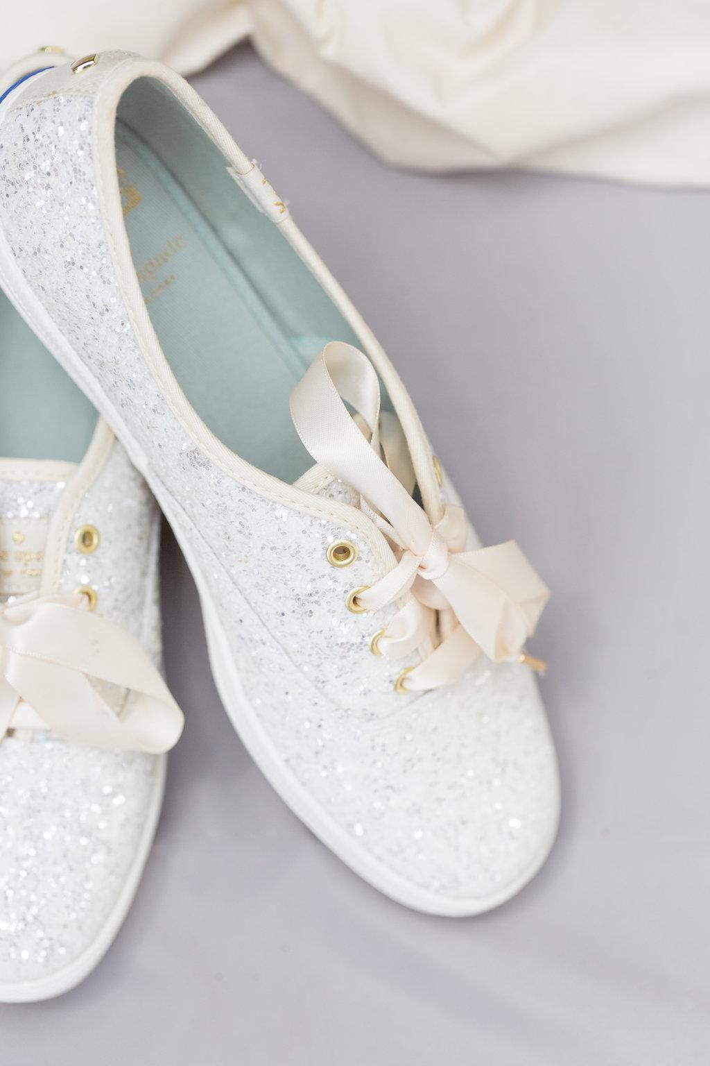 Flat White Bridal Tennis Shoes - Musgrove Plantation Georgia Wedding Venue