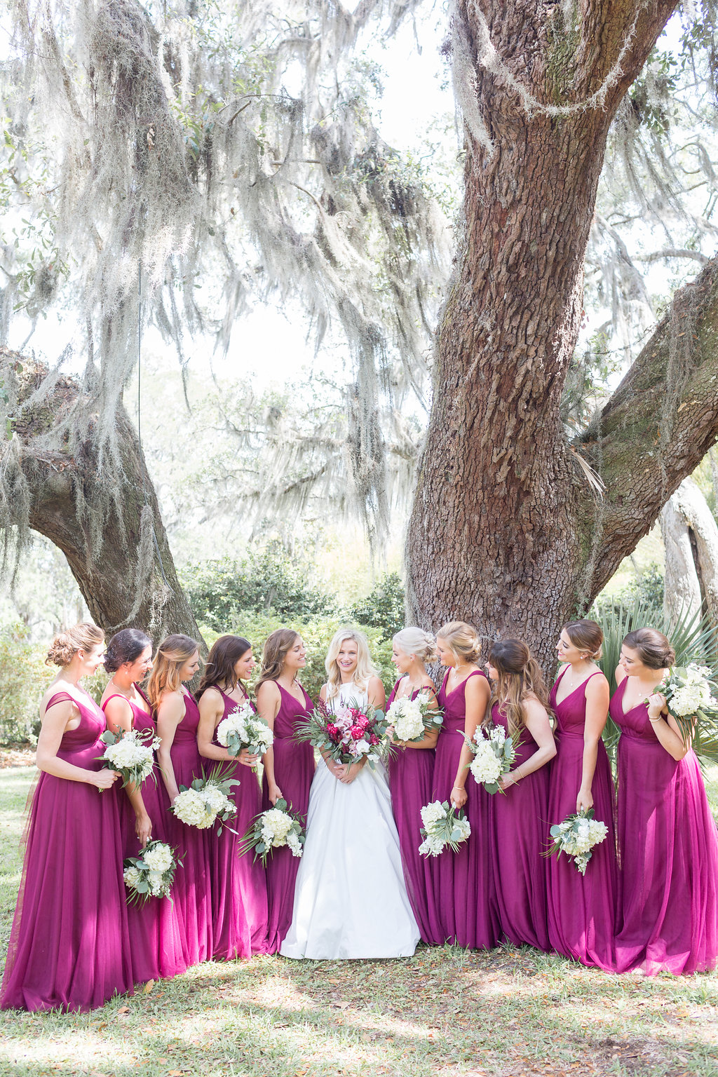 Dark Pink Bridesmaid Dresses - Musgrove Plantation Georgia Wedding Venue