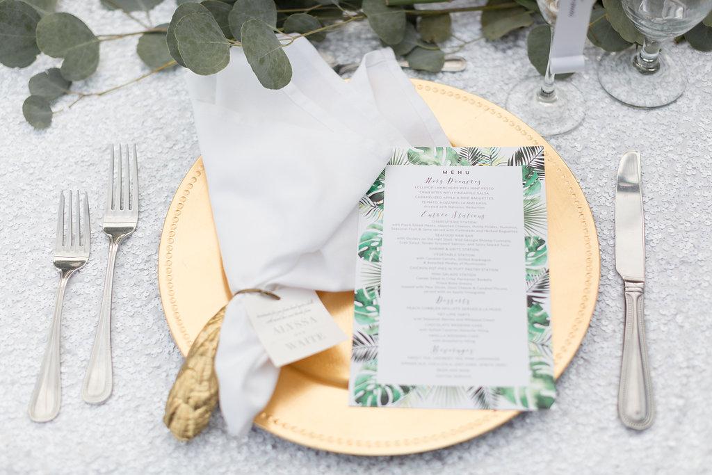 Simple Wedding Menu Cards - Musgrove Plantation Georgia Wedding Venue