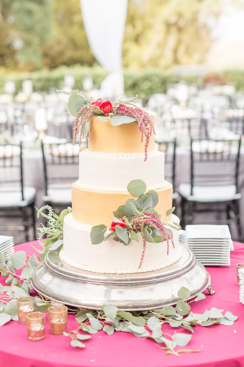 Gold and White Wedding Cake - Musgrove Plantation Georgia Wedding Venue