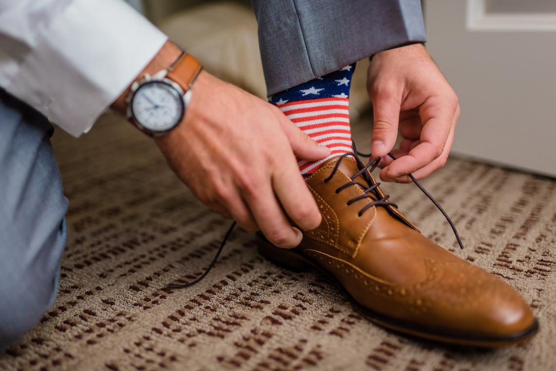 American Flag Grooms Socks - A Philander Chase Knox Estate Pennsylvania Wedding