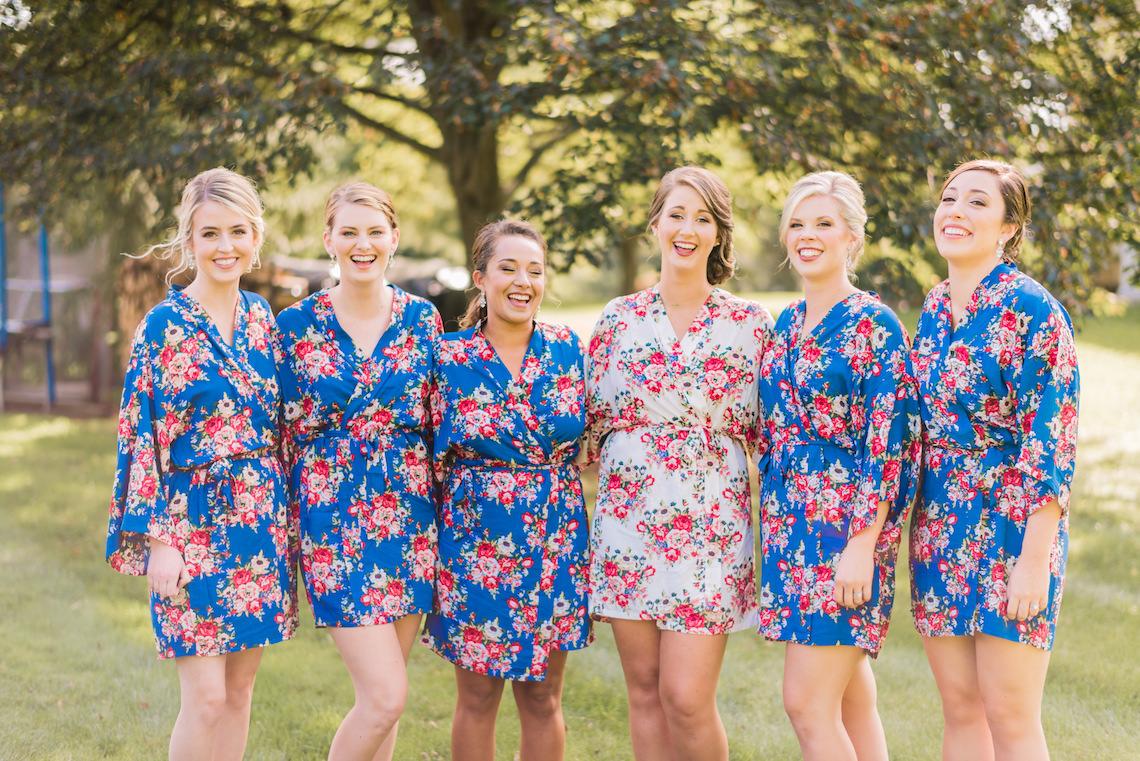 Floral Bridesmaid Robes - A Philander Chase Knox Estate Pennsylvania Wedding