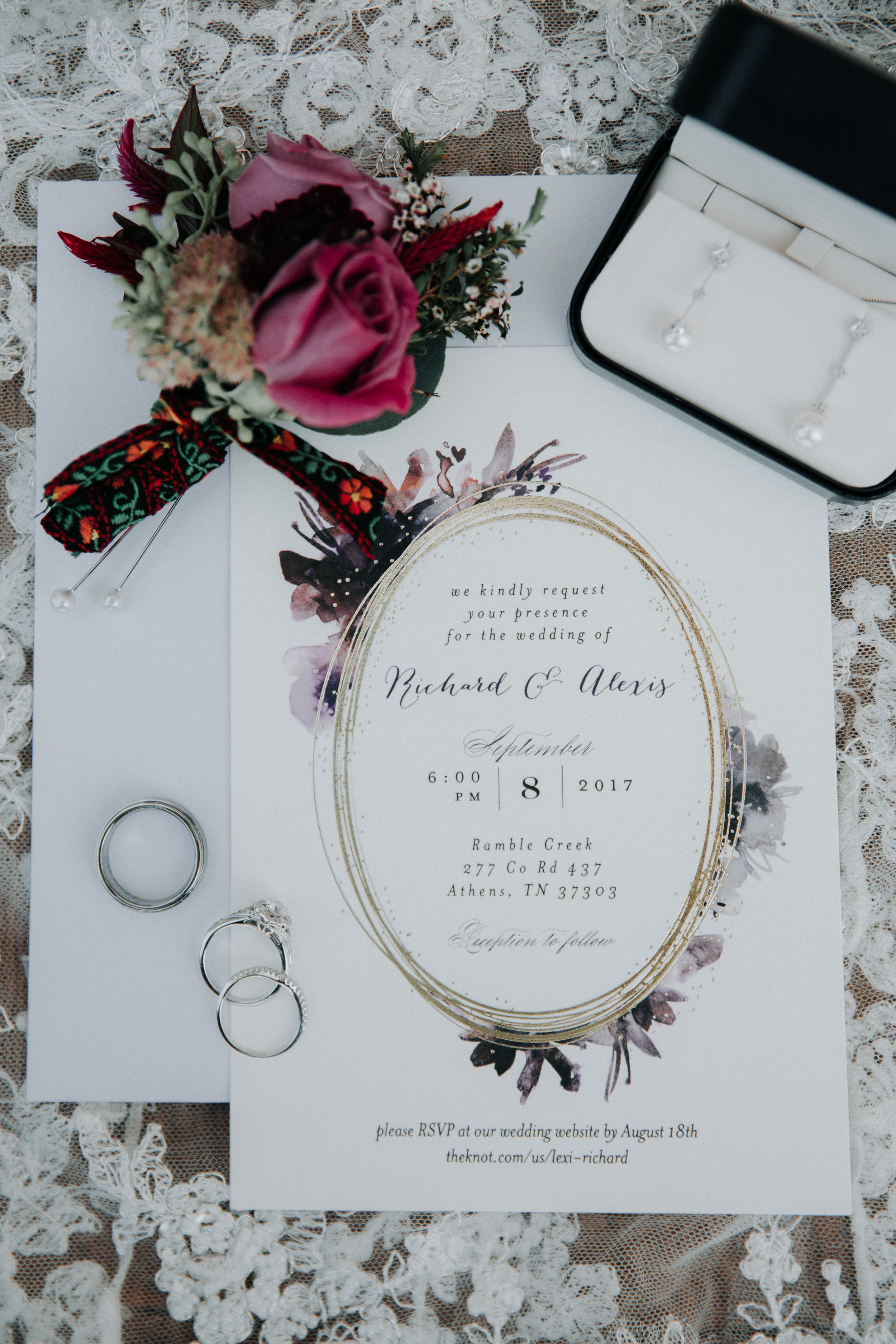 Simple Floral Wedding Invitations - Athens, Tennesee Barn Wedding -- The Overwhelmed Bride Wedding Blog