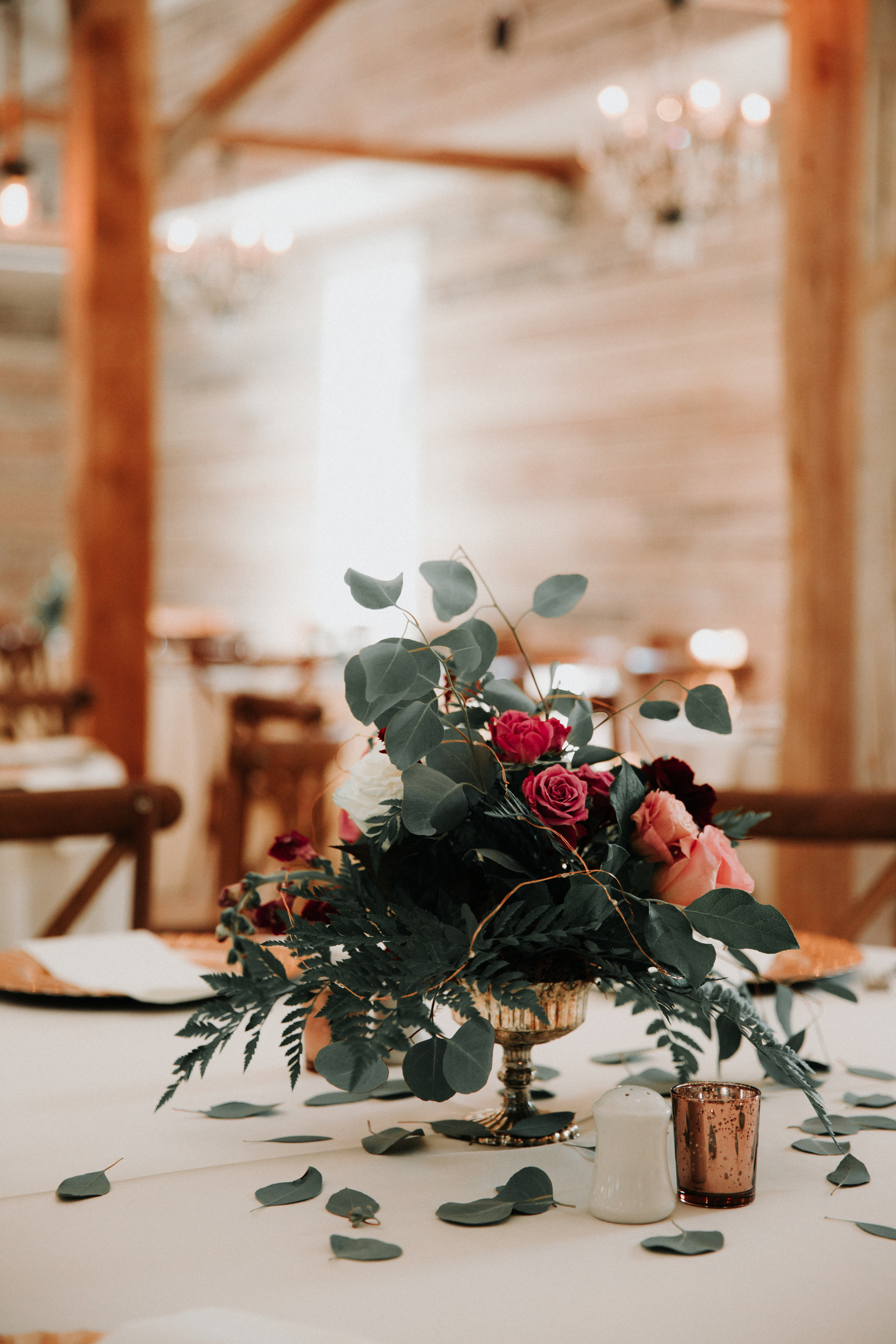 Simple Floral Wedding Centerpieces - Athens, Tennesee Barn Wedding -- The Overwhelmed Bride Wedding Blog