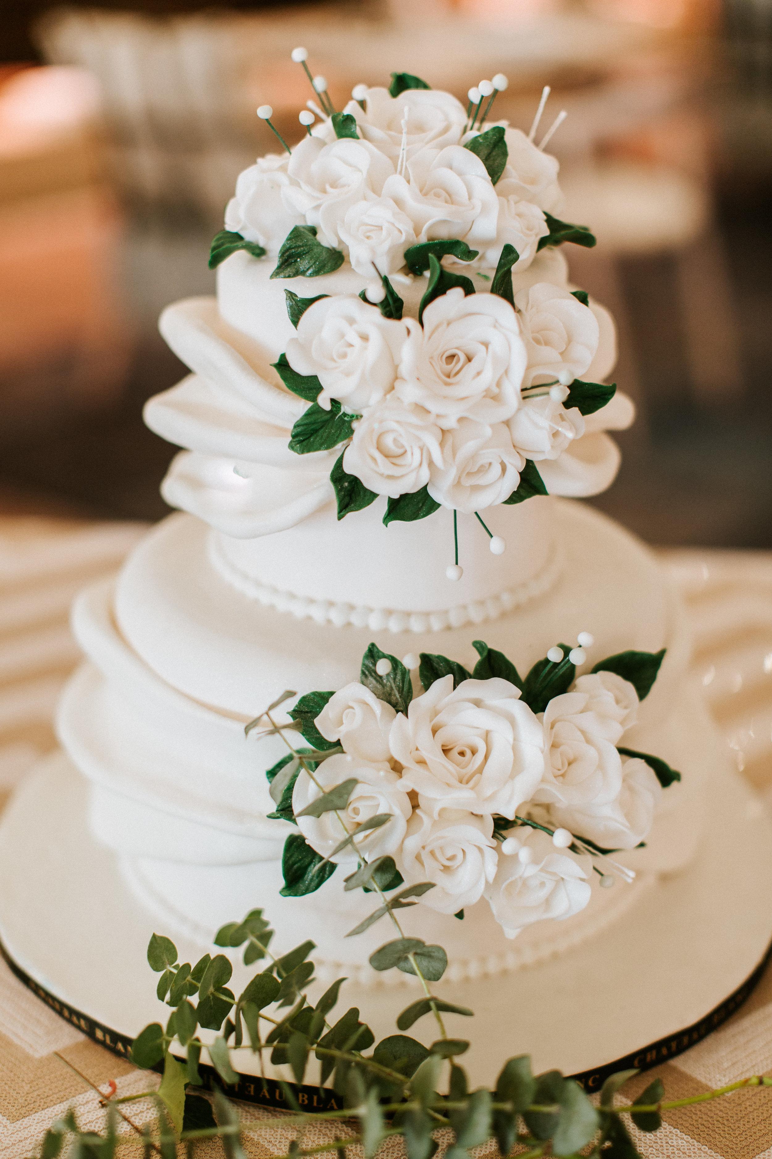 Simple White Wedding Cake - Blue Blanc Dubai Wedding