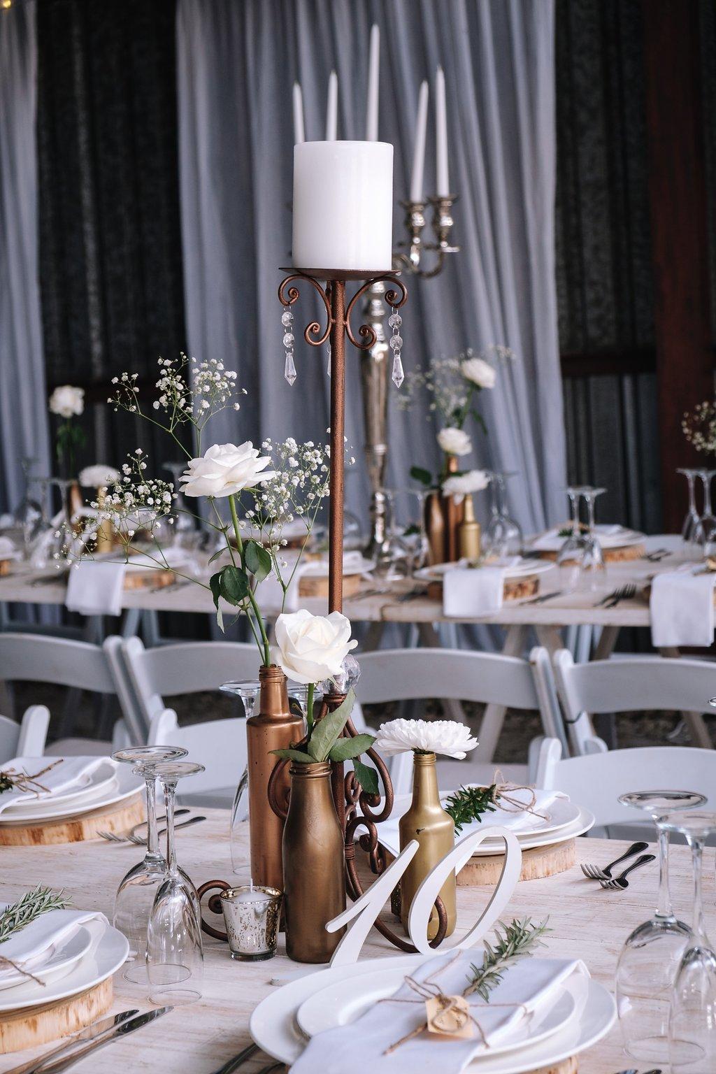 Gorgeous Gold Wedding Centerieces - Farm-Forest Wedding - The Overwhelmed Bride Wedding Blog