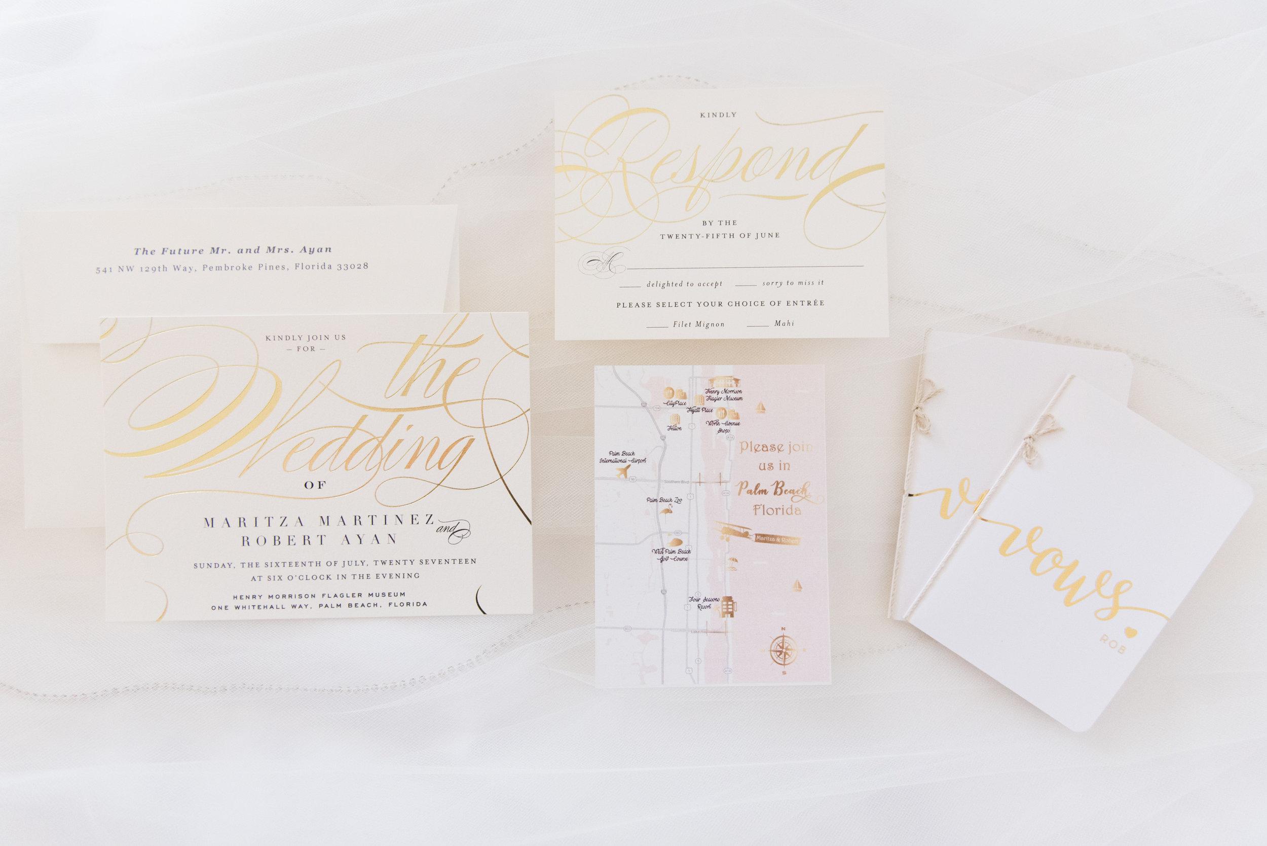 Gold and White Wedding Invitations - Flagler Museum Palm Beach Wedding Venue - The Overwhelmed Bride Wedding Blog