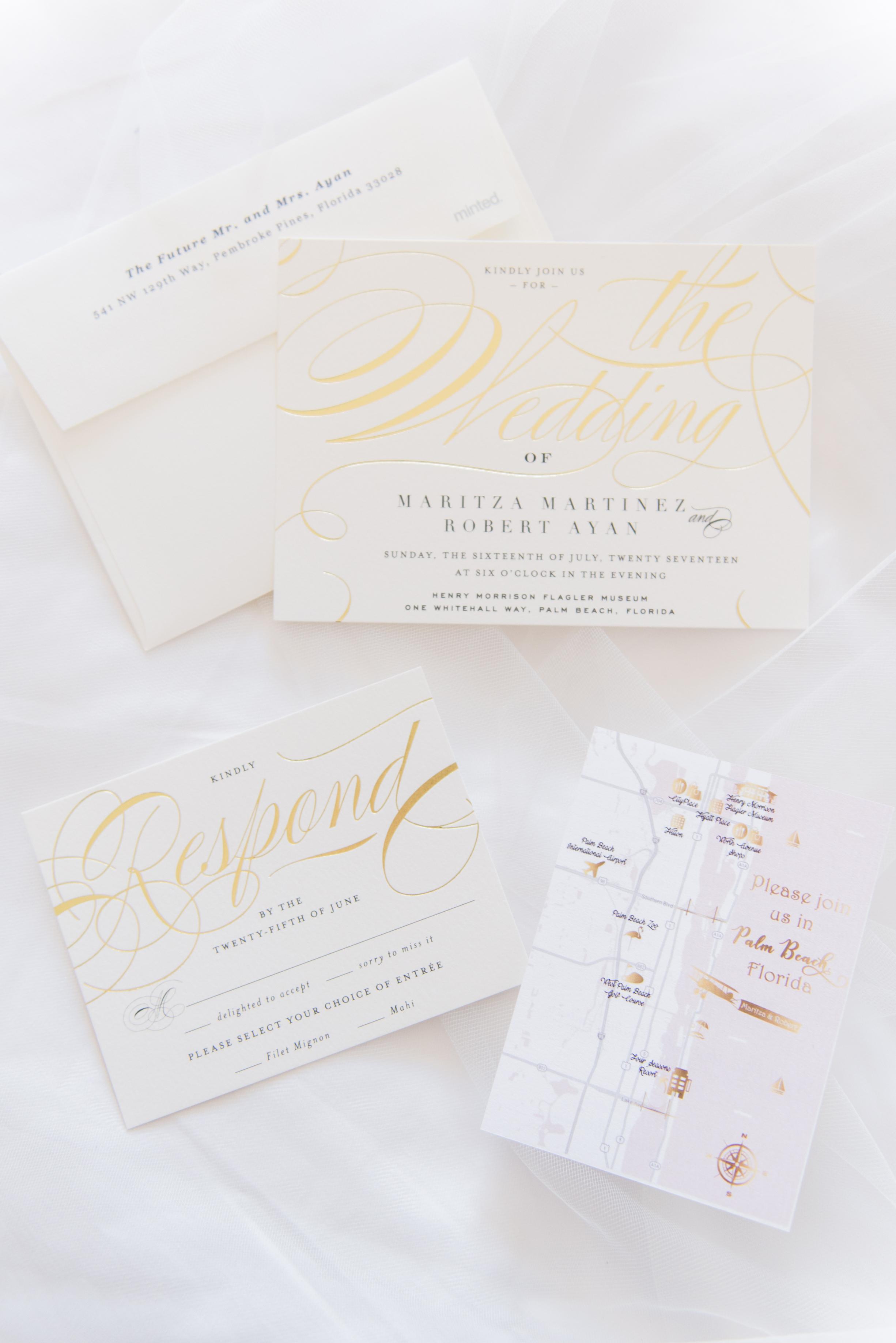 Gorgeous Gold and White Wedding Invitations - Flagler Museum Palm Beach Wedding Venue - The Overwhelmed Bride Wedding Blog