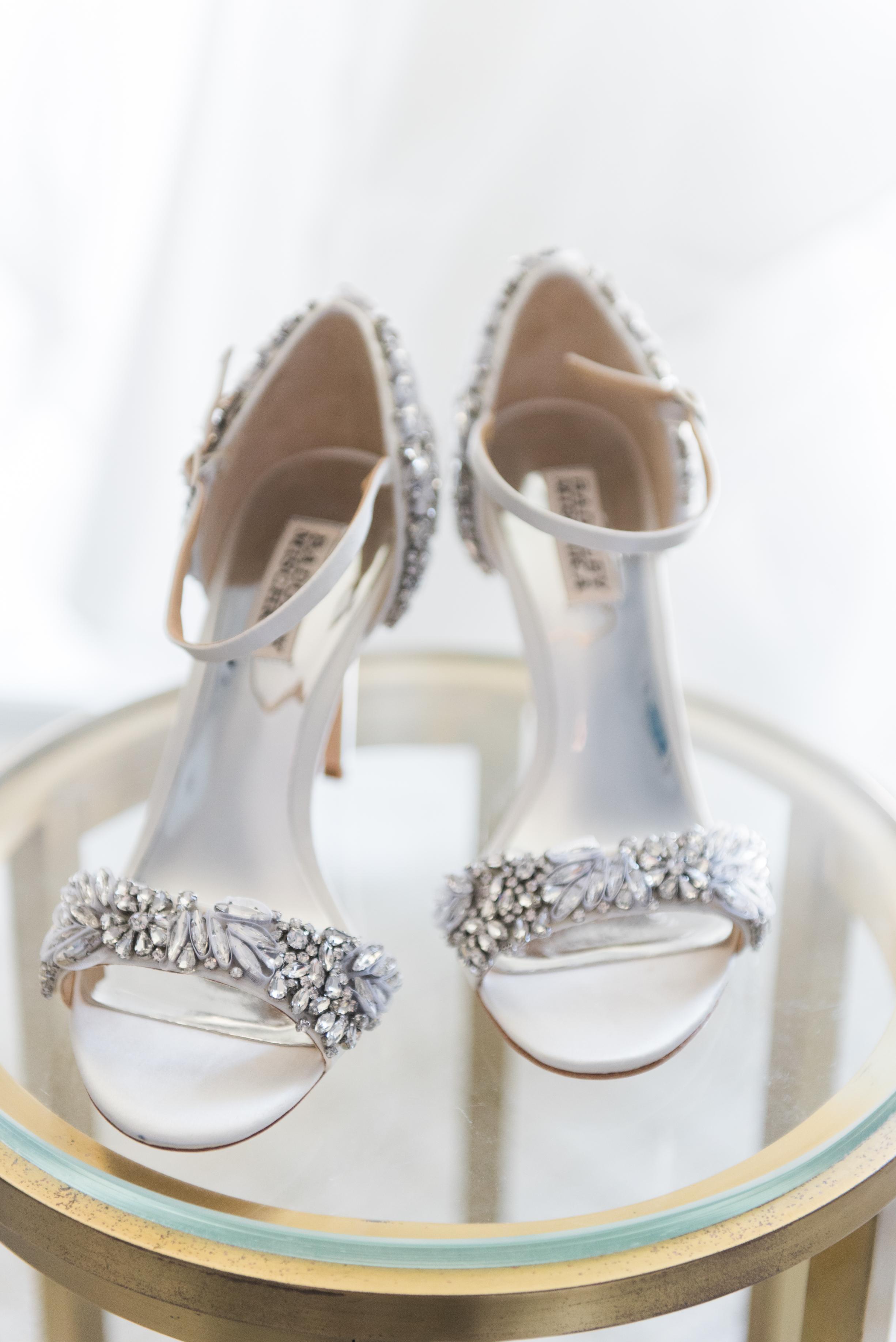 Gorgeous Silver Wedding Shoes - Flagler Museum Palm Beach Wedding Venue - The Overwhelmed Bride Wedding Blog