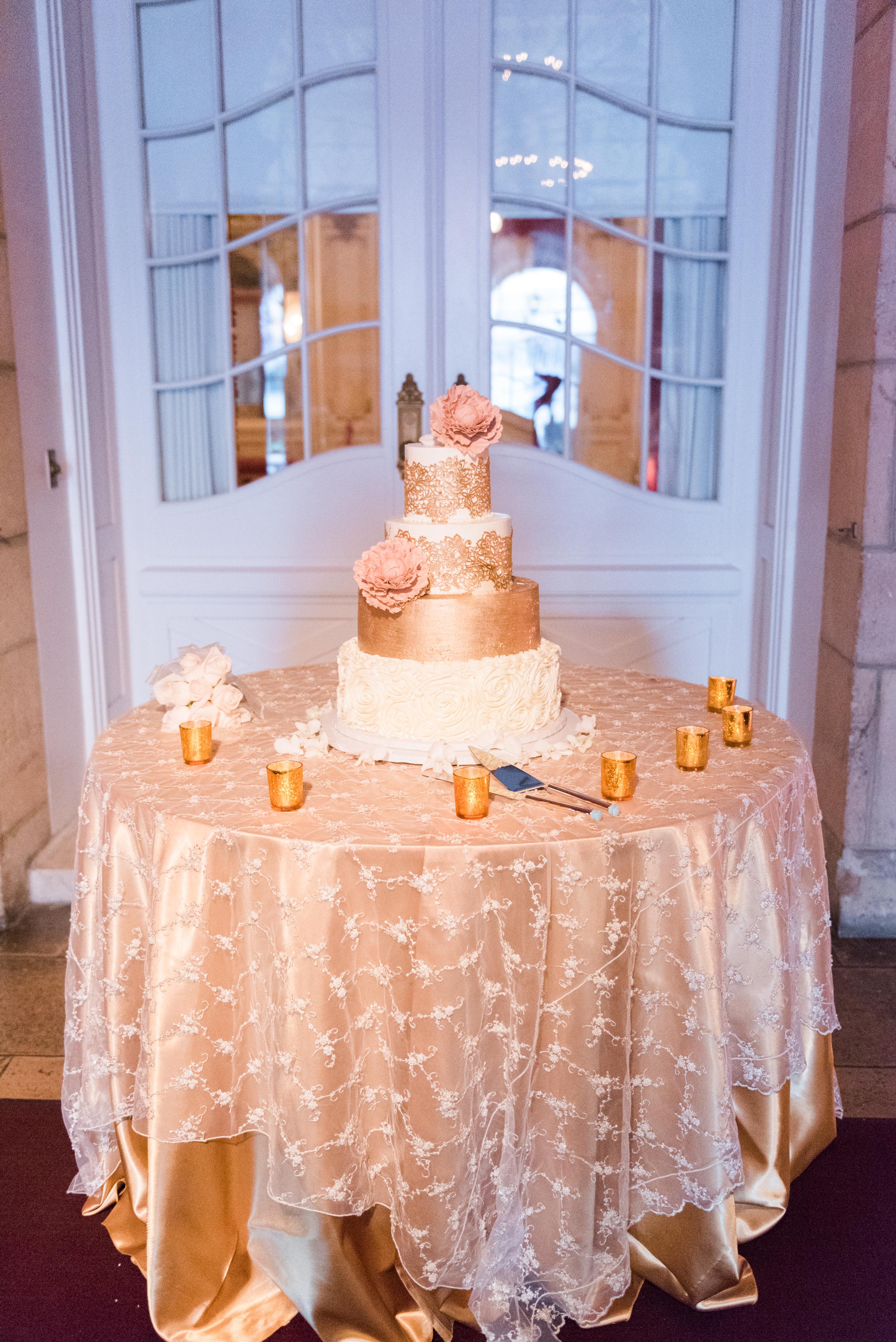 Gold and White Wedding Cake - Flagler Museum Palm Beach Wedding Ceremony - The Overwhelmed Bride Wedding Blog
