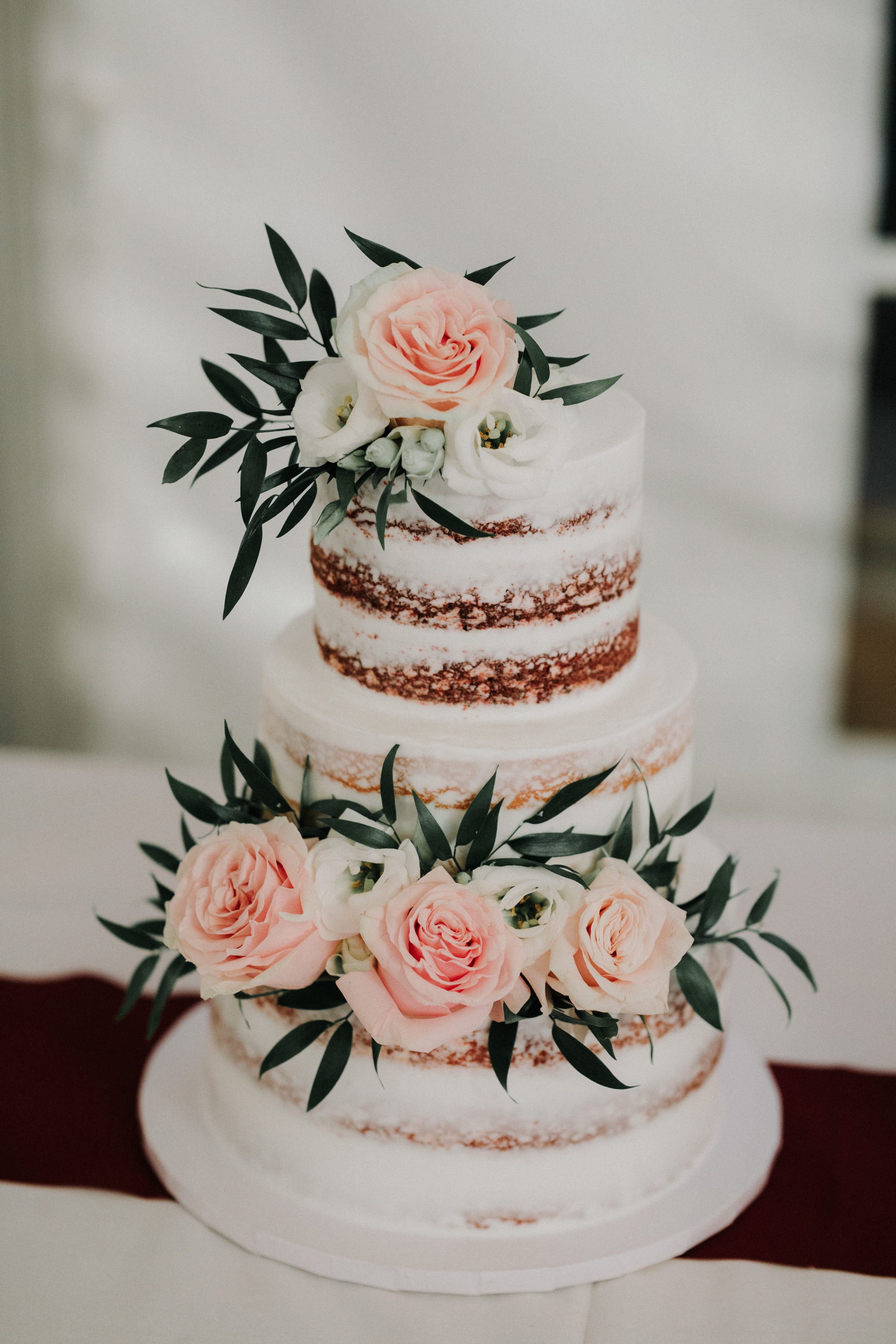 Gorgeous White Naked Cake - Dara's Garden Knoxville East Tennessee Wedding — The Overwhelmed Bride Wedding Blog