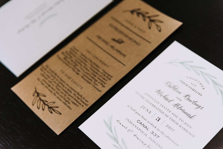 Simple Wedding Wedding Invitation - Classic Indianapolis Wedding - Canal 337 Wedding - The Overwhelmed Bride Wedding Blog