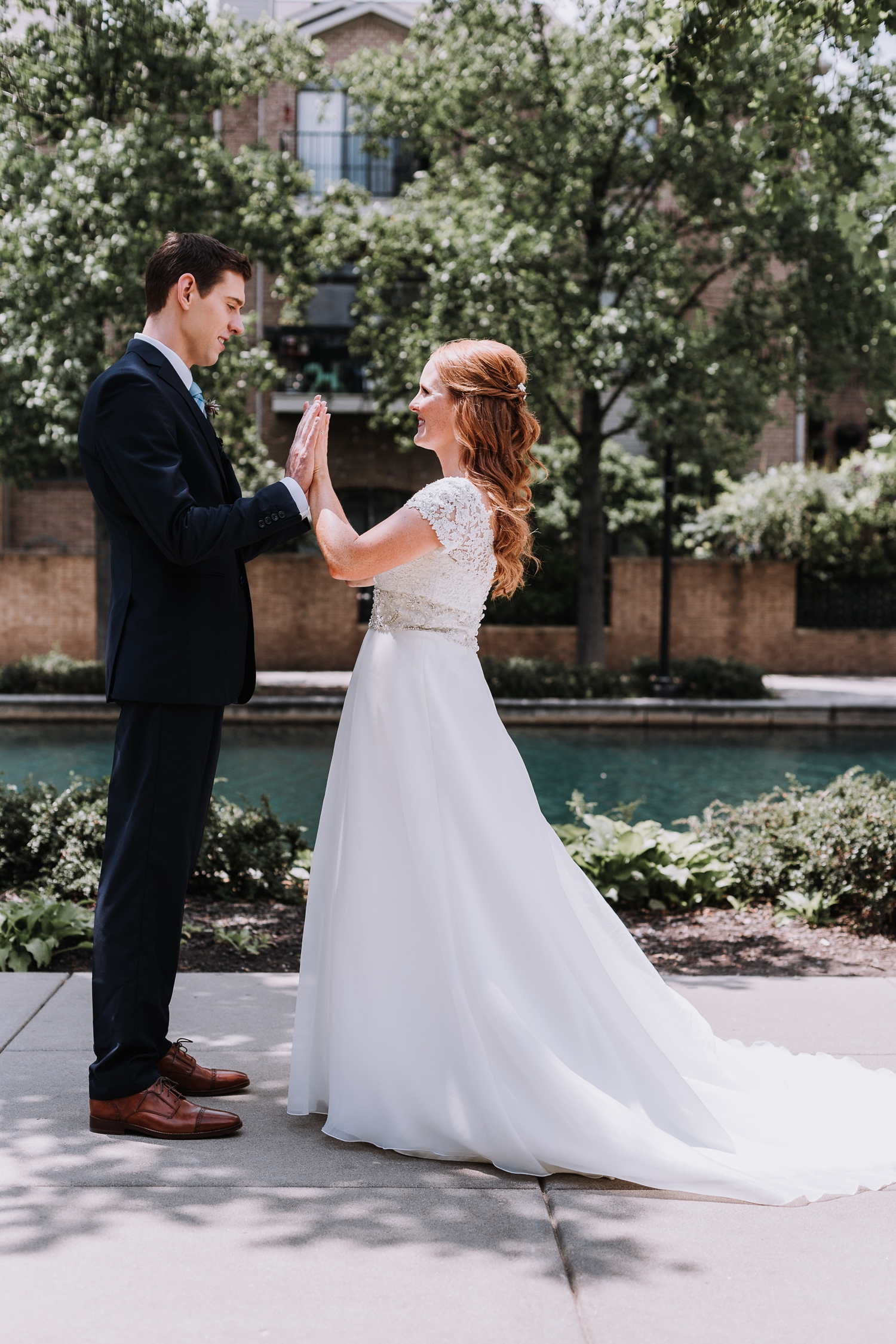 First Look Photos - Online Groom Tux Rentals - Classic Indianapolis Wedding - Canal 337 Wedding - The Overwhelmed Bride Wedding Blog