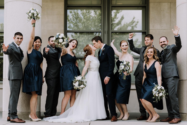 Navy Bridesmaid Dresses - Classic Indianapolis Wedding - Canal 337 Wedding - The Overwhelmed Bride Wedding Blog