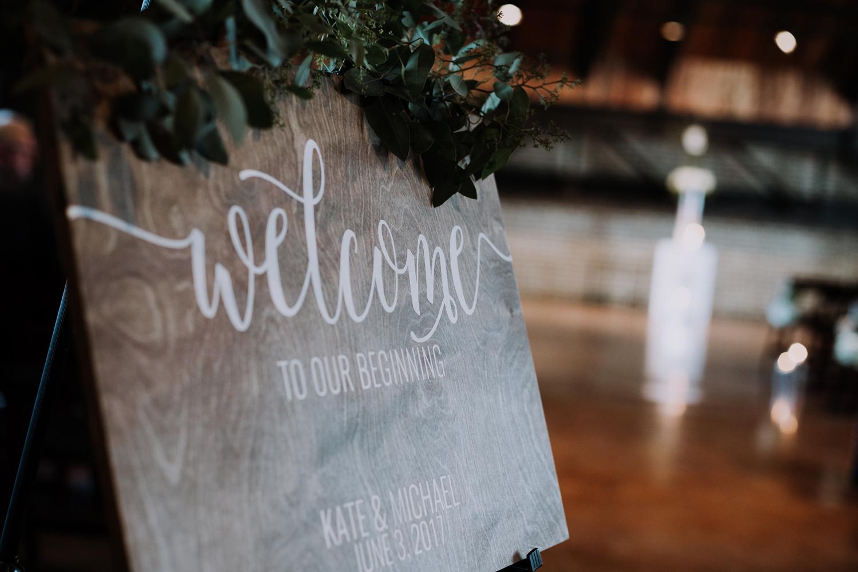 Rustic Wedding Signs - Classic Indianapolis Wedding - Canal 337 Wedding - The Overwhelmed Bride Wedding Blog