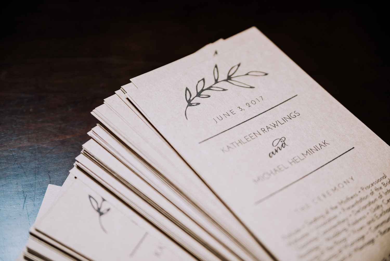 Wedding Programs - Classic Indianapolis Wedding - Canal 337 Wedding - The Overwhelmed Bride Wedding Blog