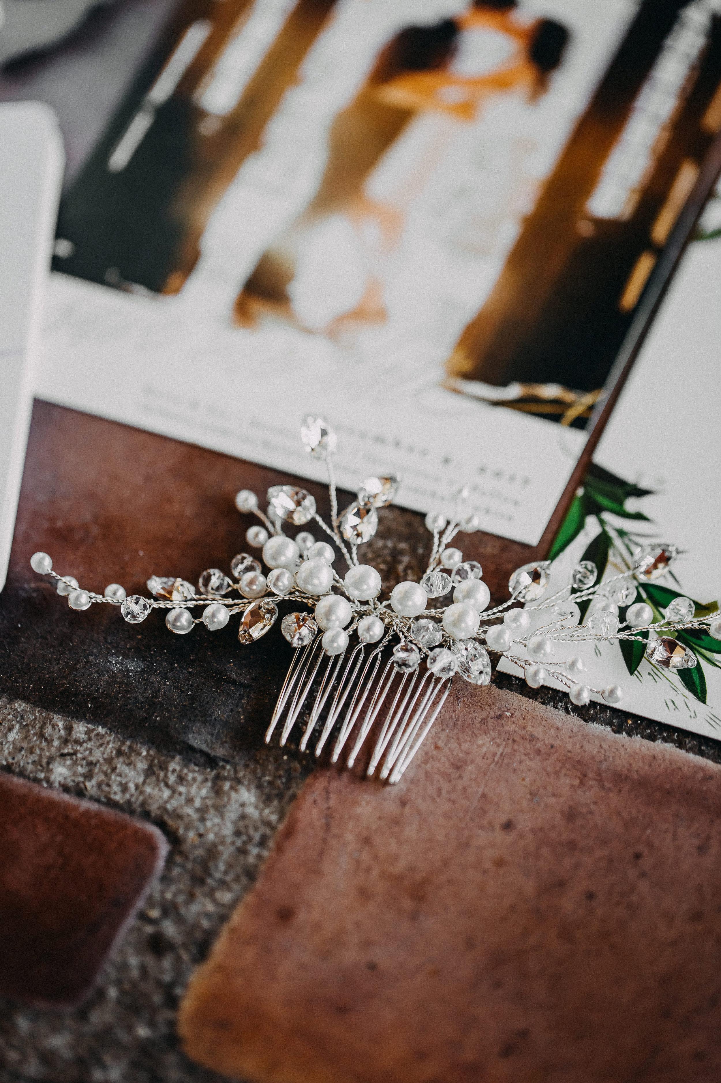 Bridal Hair Comb - Florida Estate Wedding - Powel Crowley Estate Wedding