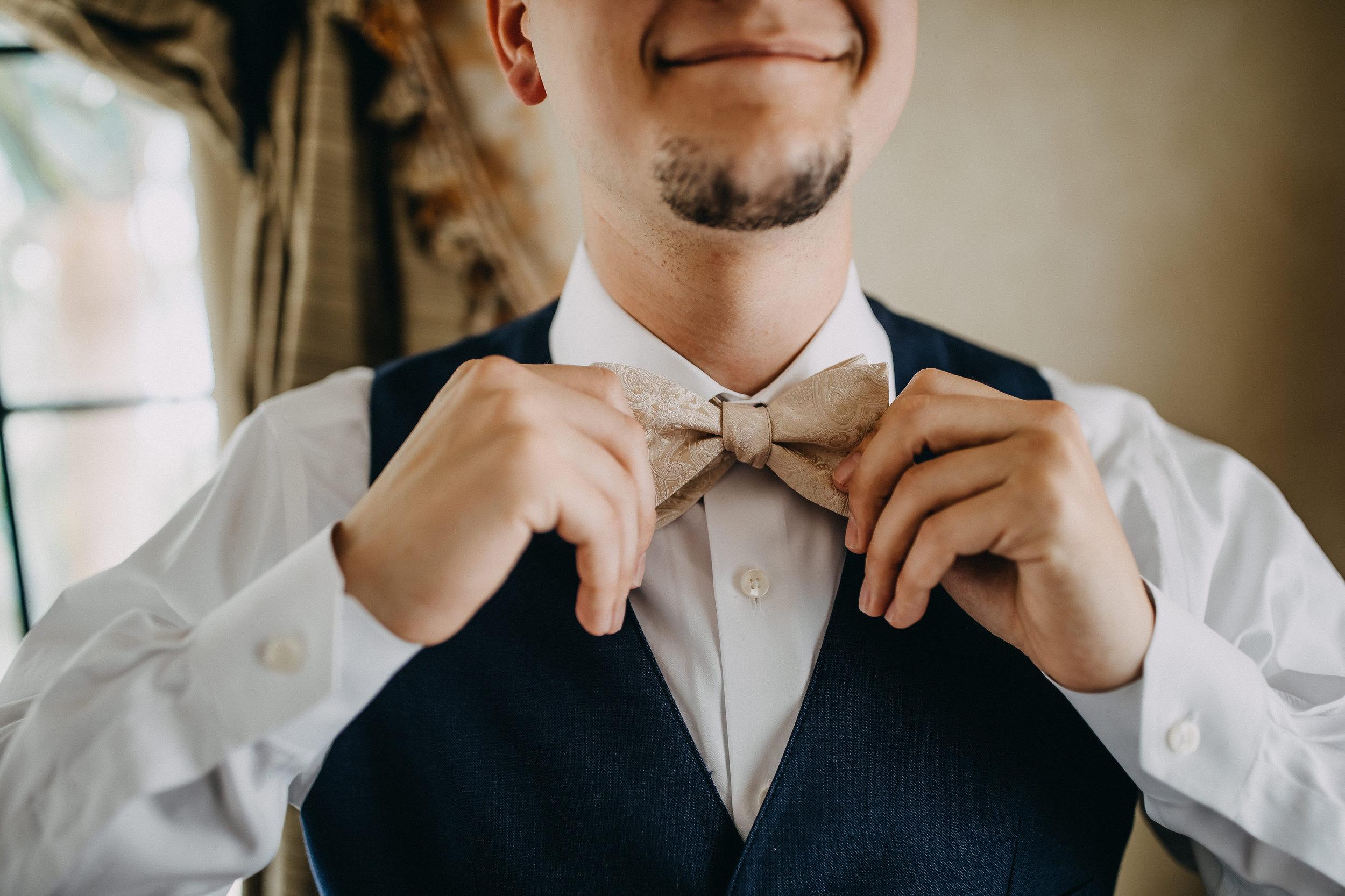 Ivory Linen Groom Bow Tie - Florida Estate Wedding - Powel Crowley Estate Wedding