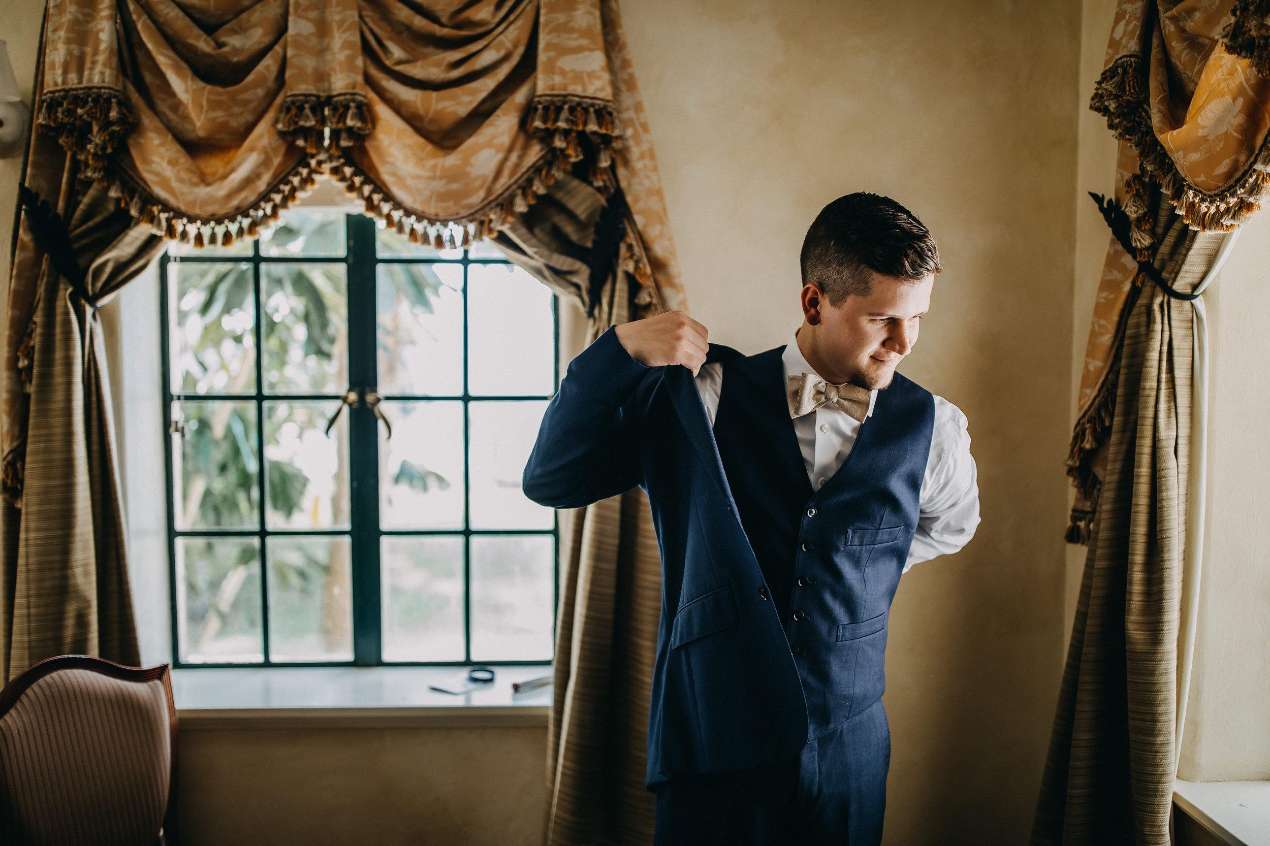 Groom Getting Ready Photos - Florida Estate Wedding - Powel Crowley Estate Wedding