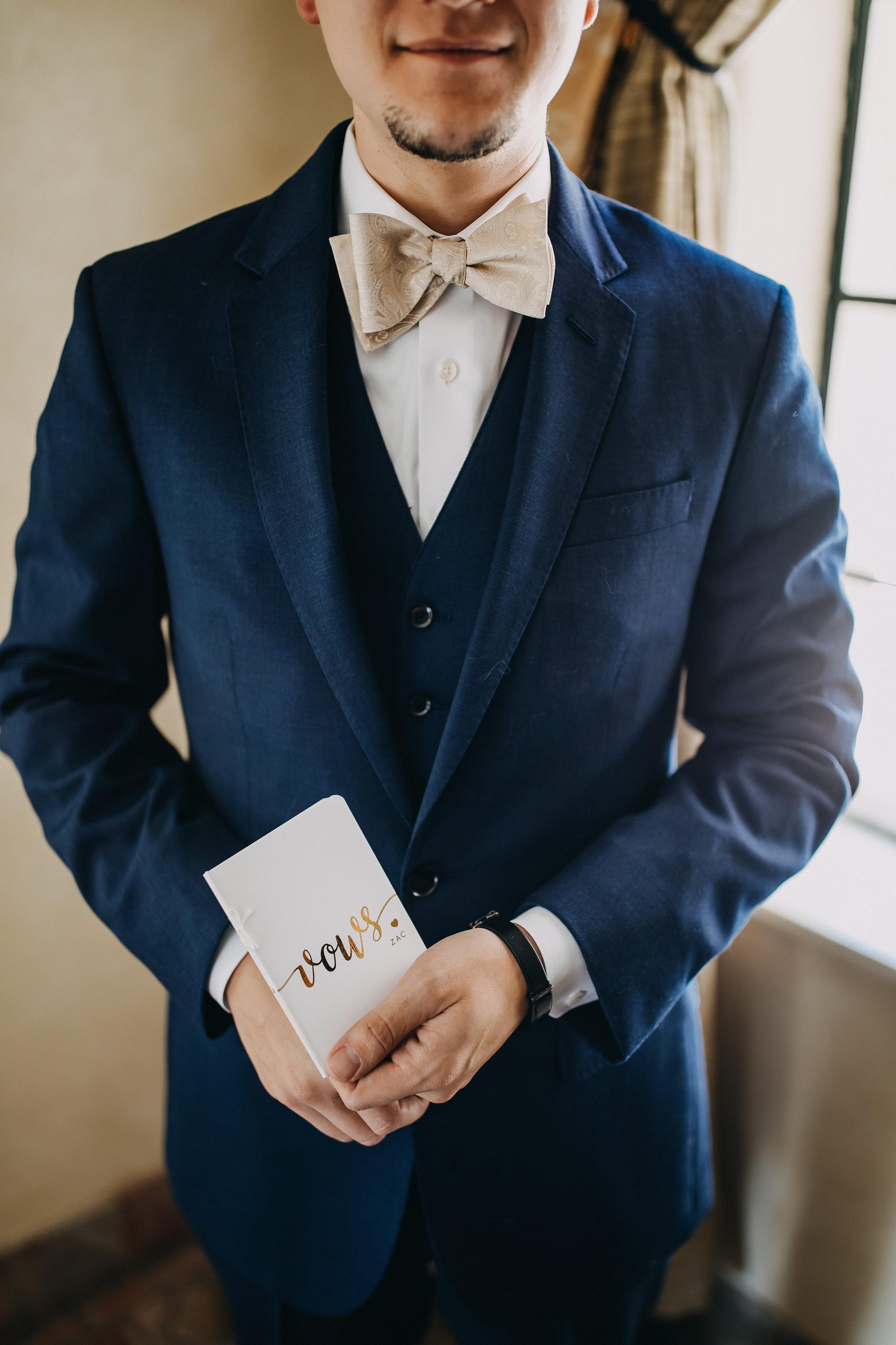 Navy Blue Groom Suit - Florida Estate Wedding - Powel Crowley Estate Wedding