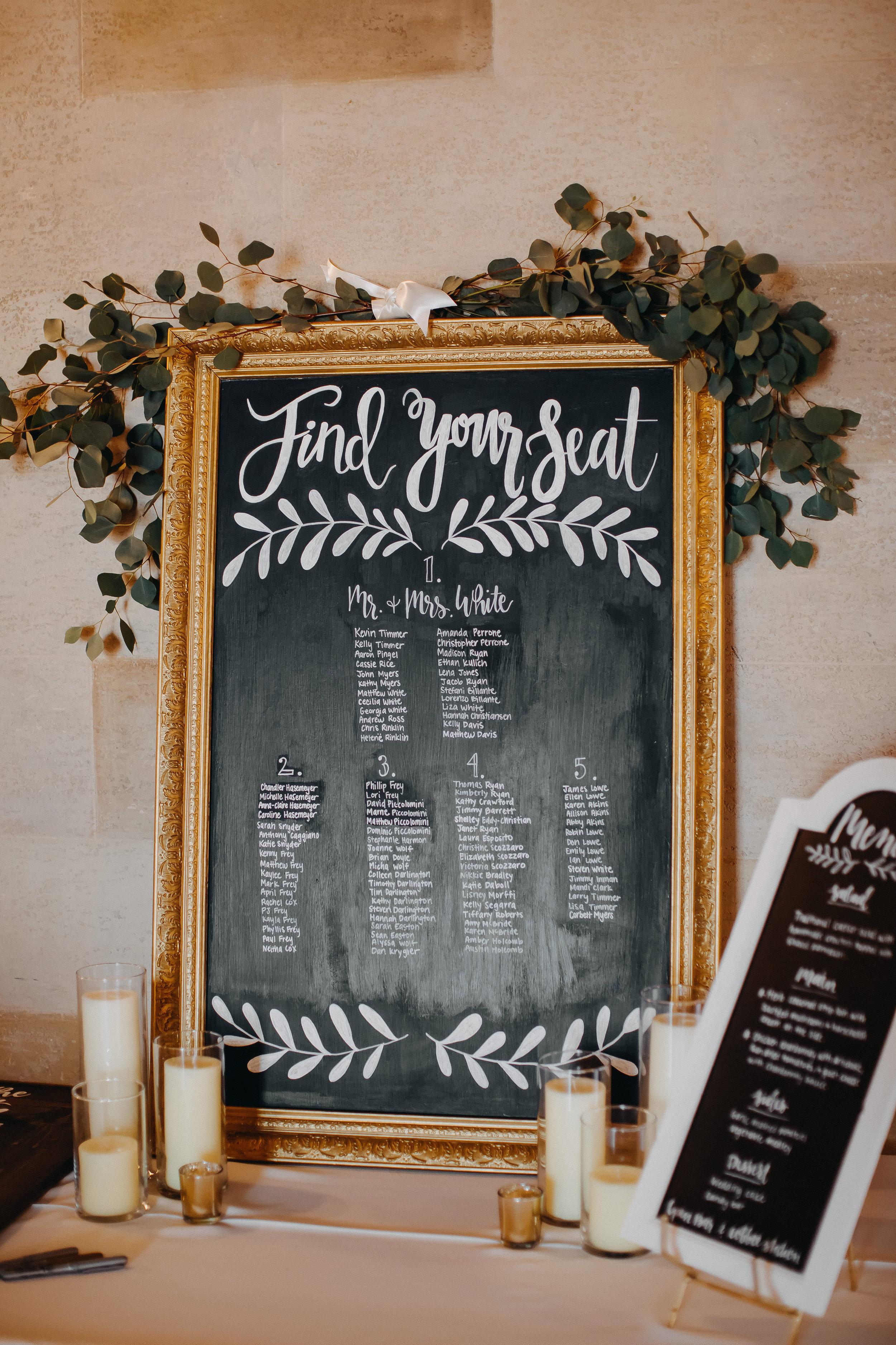 Chalkboard Wedding Seating Chart - Florida Estate Wedding - Powel Crowley Estate Wedding