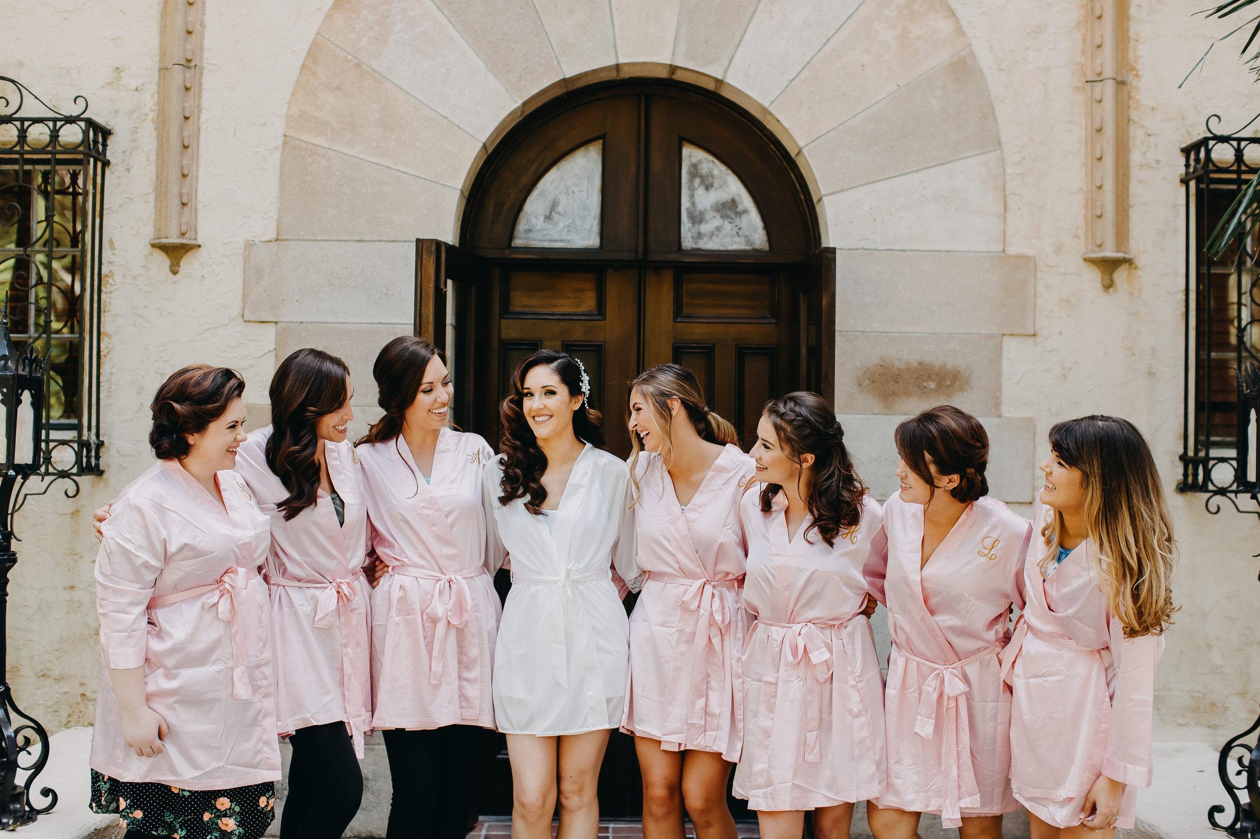 Pink Bridesmaid Robes - Florida Estate Wedding - Powel Crowley Estate Wedding