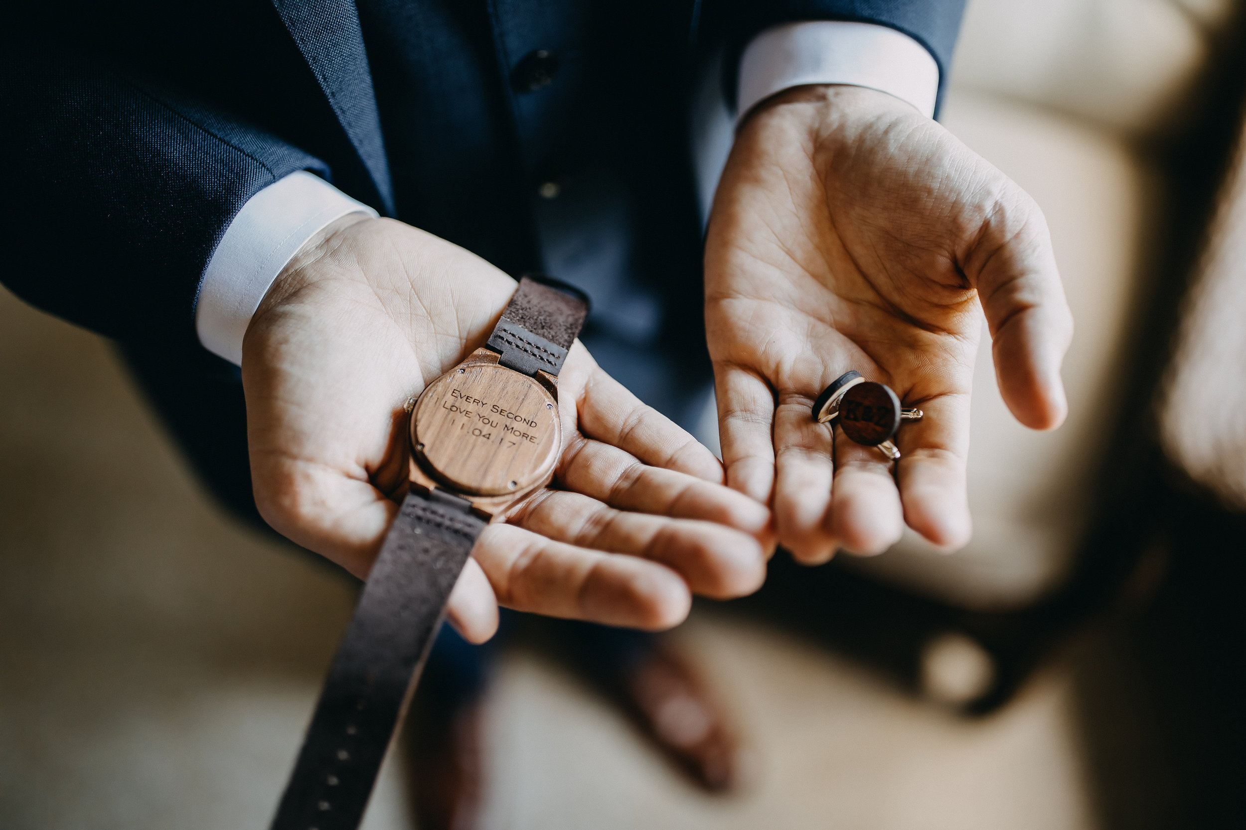 Engraved Wooden Groom Gift Watch - Florida Estate Wedding - Powel Crowley Estate Wedding