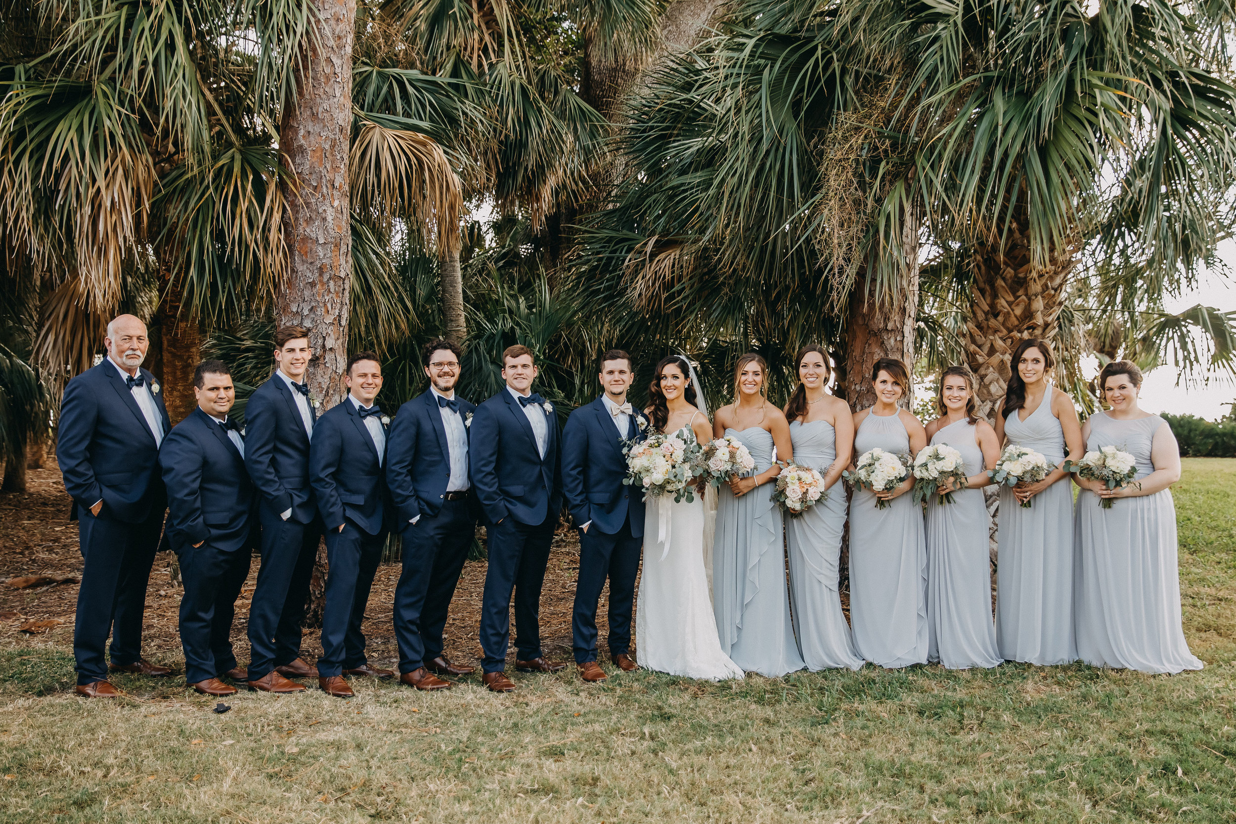 Grey Light Blue Bridesmaid Dresses - Florida Estate Wedding - Powel Crowley Estate Wedding
